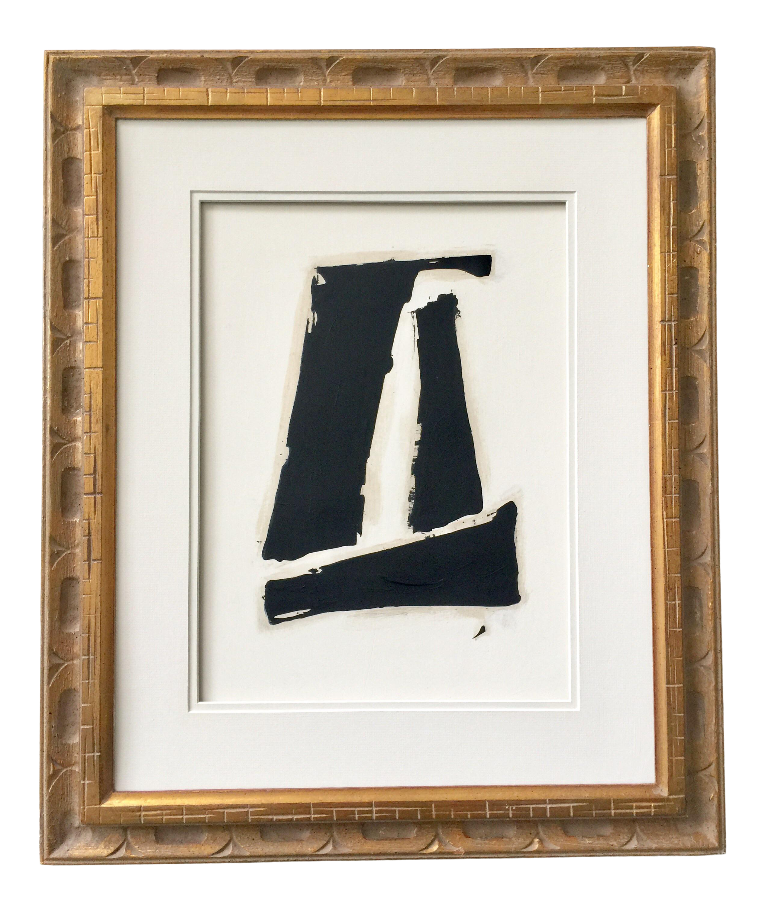 Black and white abstract painting 1 gold vintage frame chairish