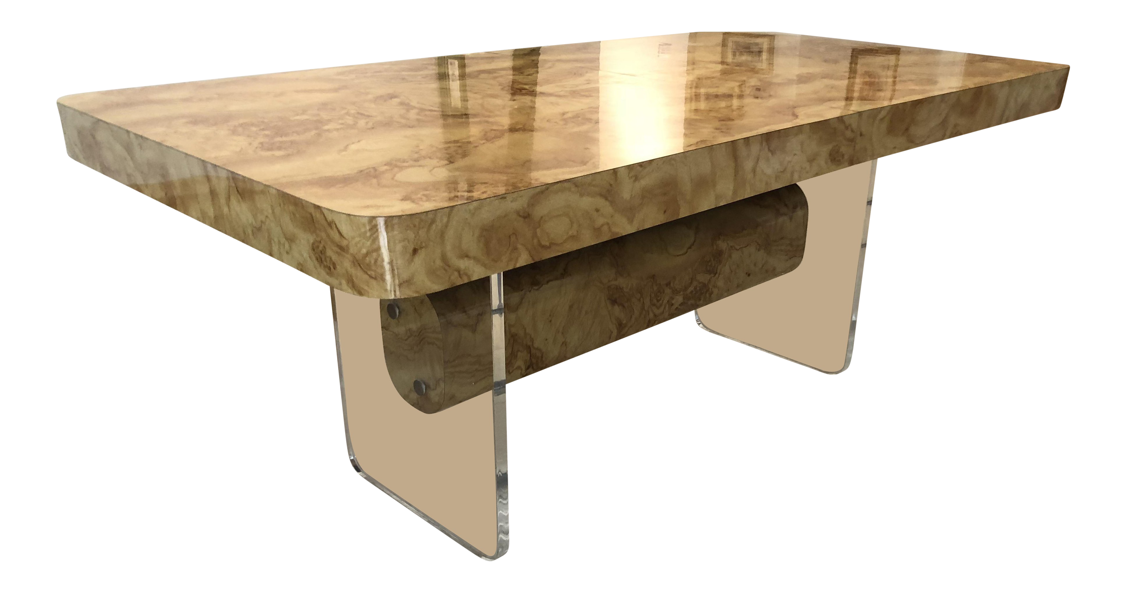 Lovely faux burl wood and lucite dining table decaso