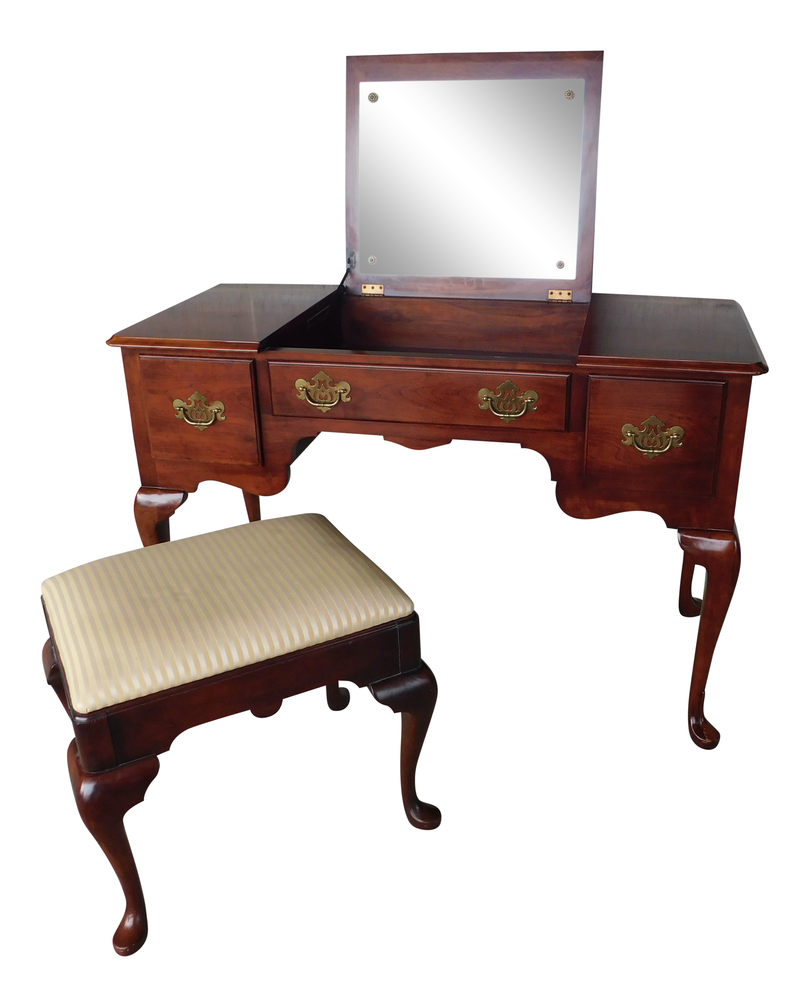 Surprising Statton Old Towne Cherry Queen Anne Style Vanity Stool Squirreltailoven Fun Painted Chair Ideas Images Squirreltailovenorg