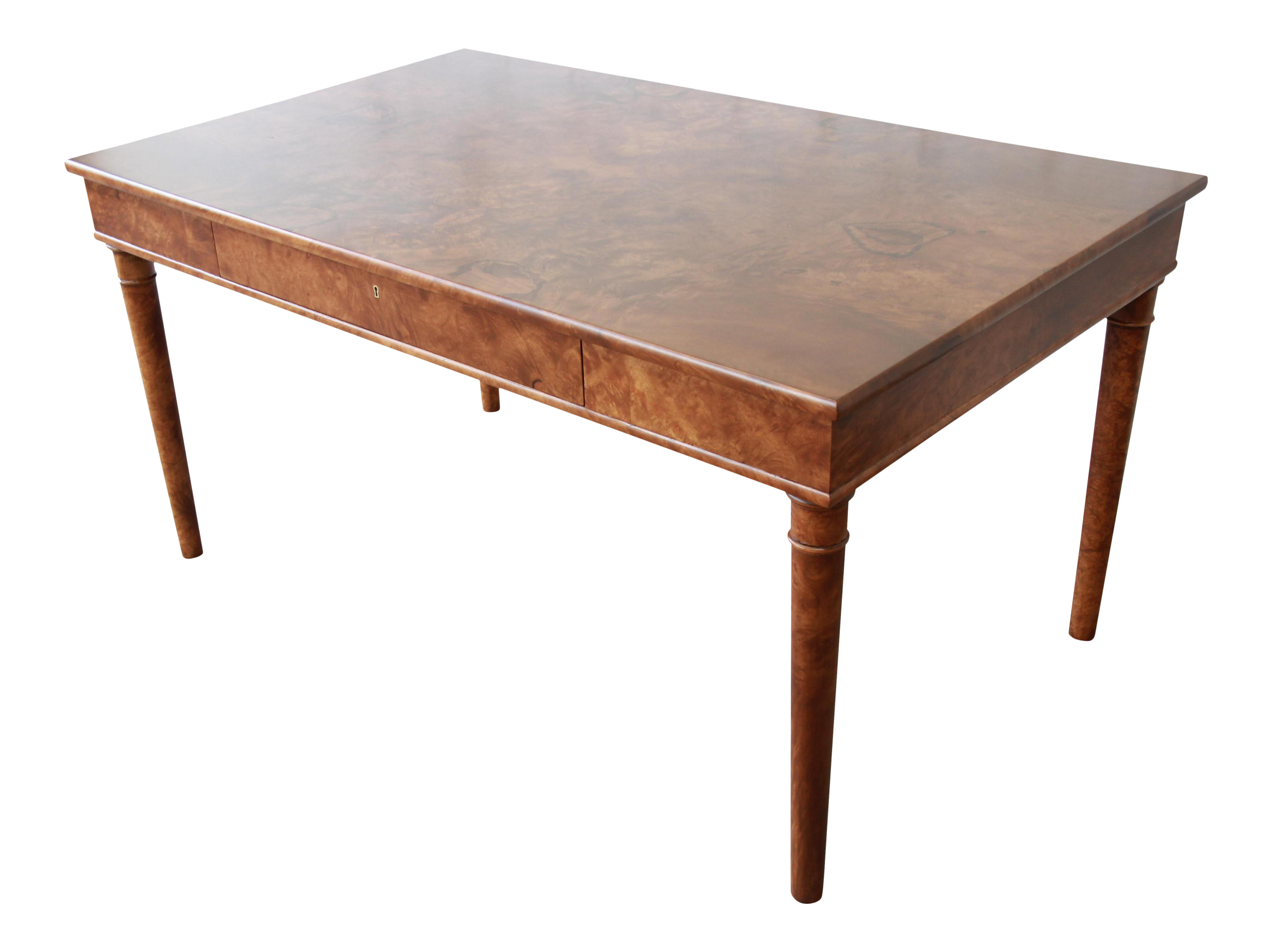 Fine Dessin Fournir Louis Philippe Style Burled Olive Wood Library Table Or  Writing Desk | DECASO