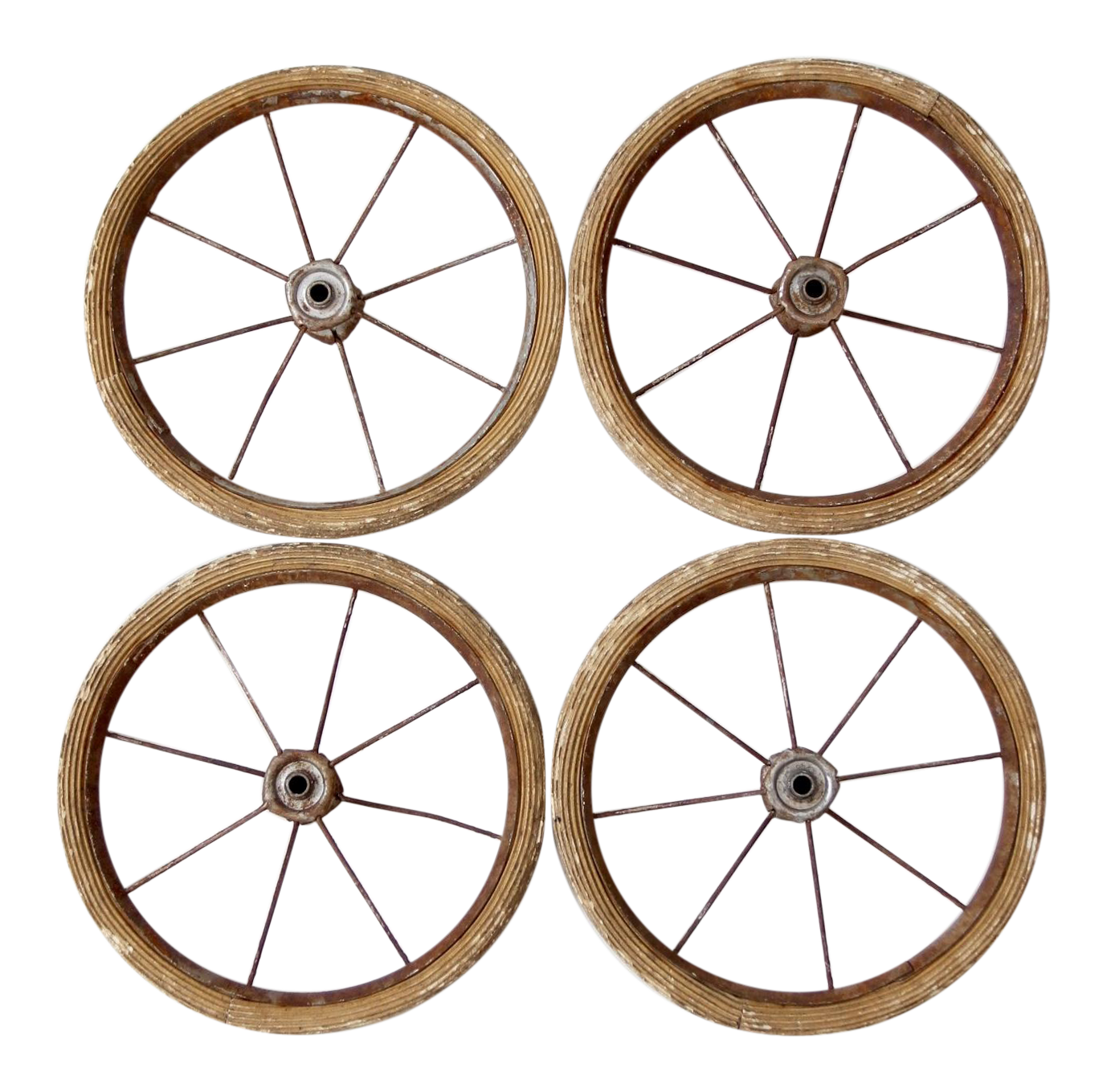 Vintage Doll Carriage Wheels - Set of 4 | Chairish