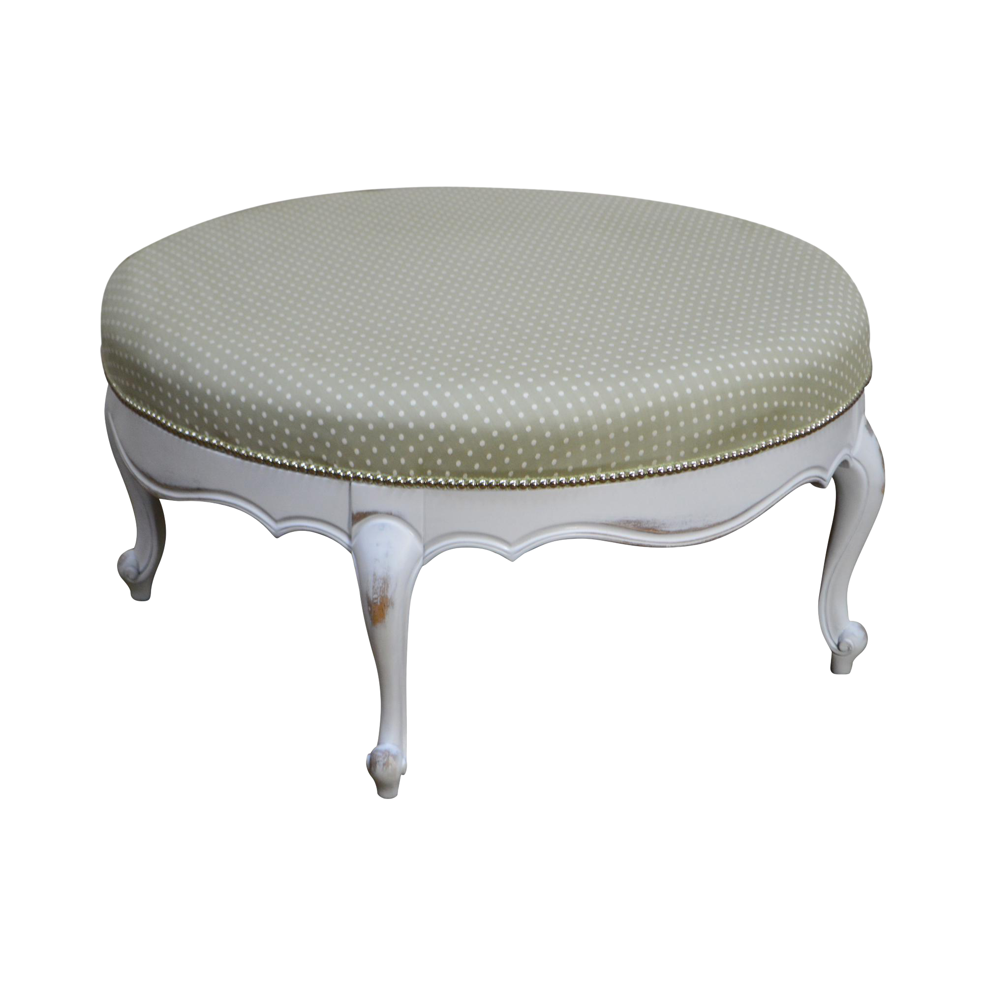 French louis xv style custom white painted round upholstered ottoman chairish