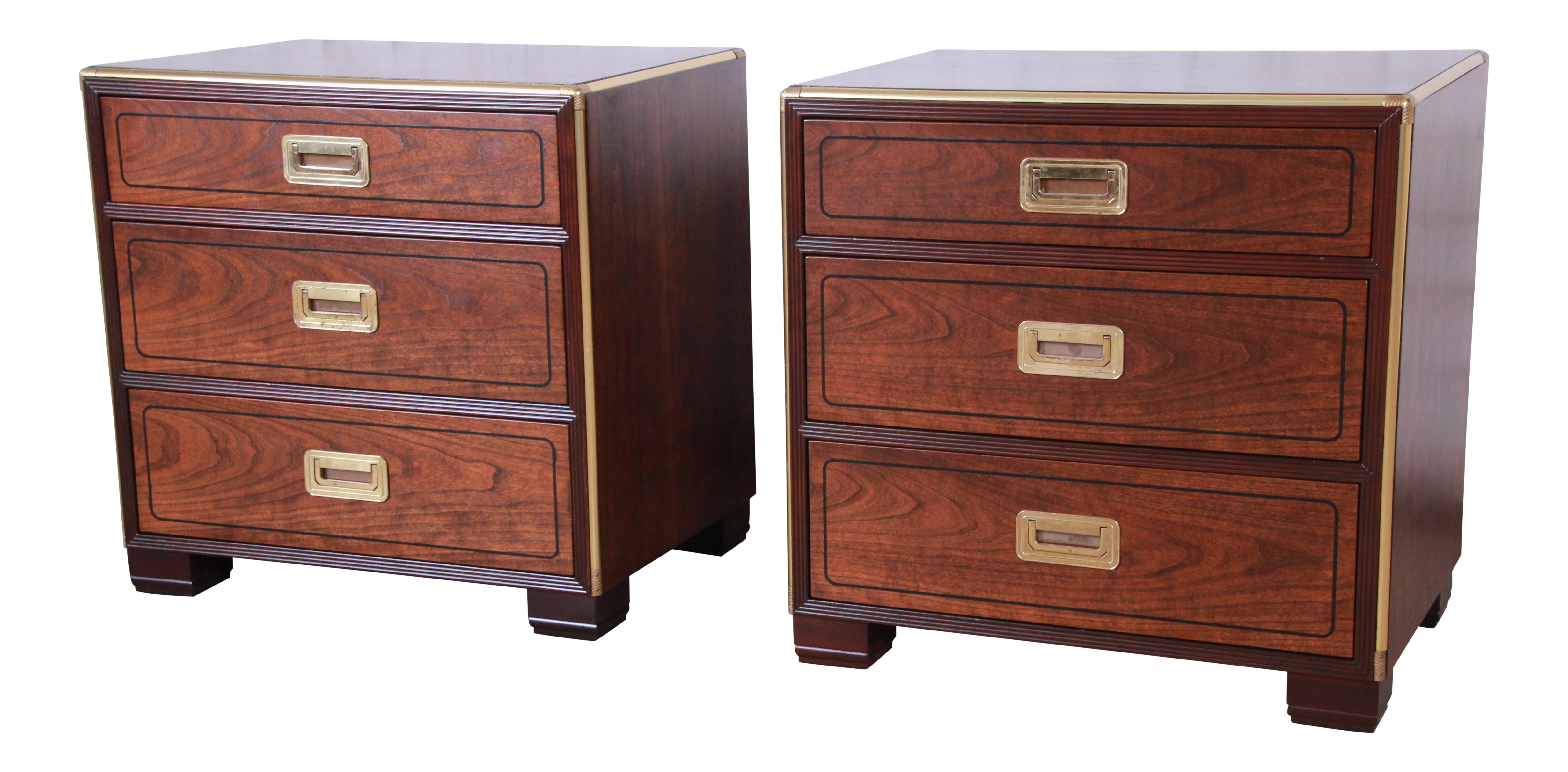 Baker furniture hollywood regency walnut and brass campaign style nightstands pair chairish