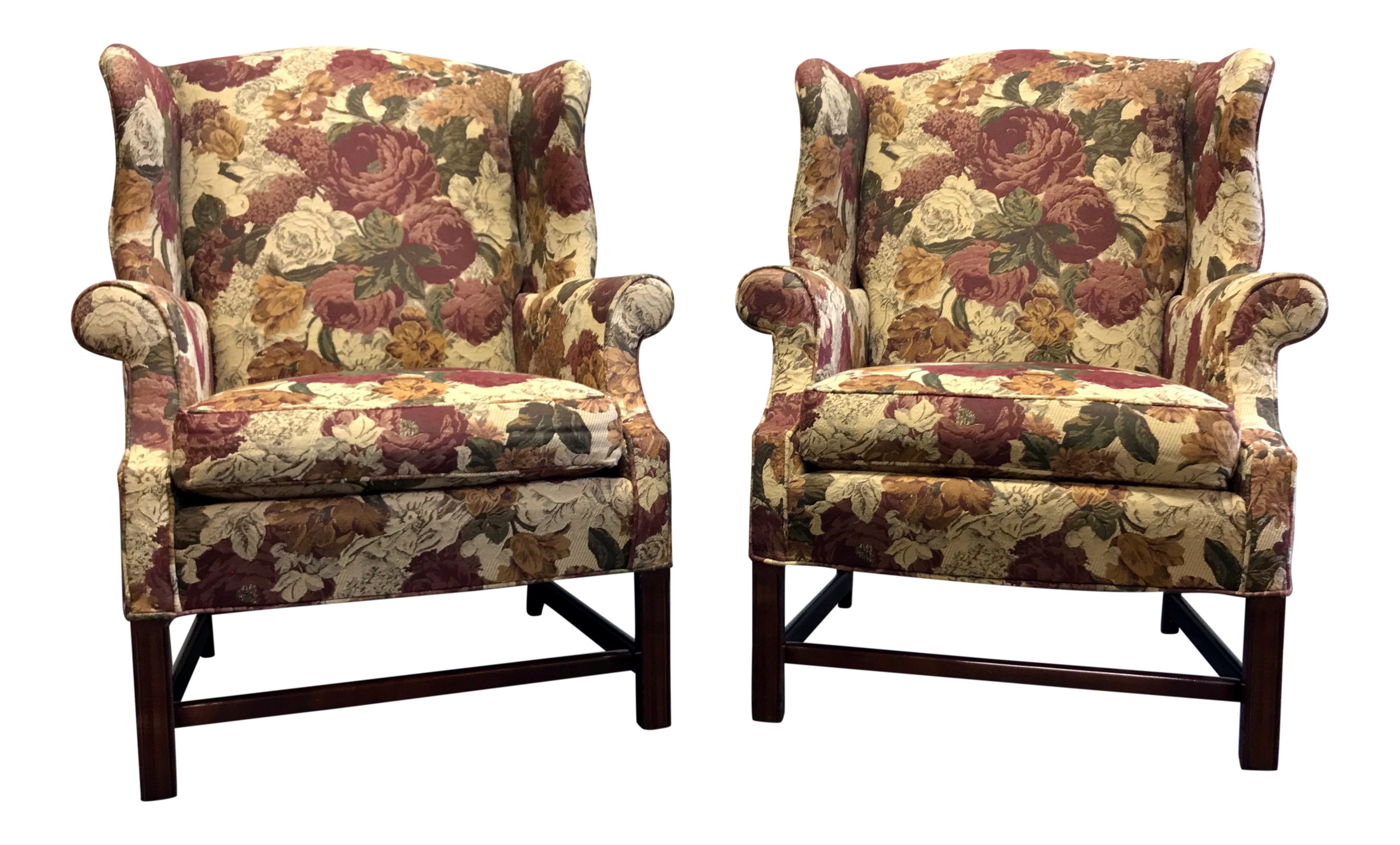 Straight Leg Chippendale Style Wing Back Chairs - a Pair | Chairish