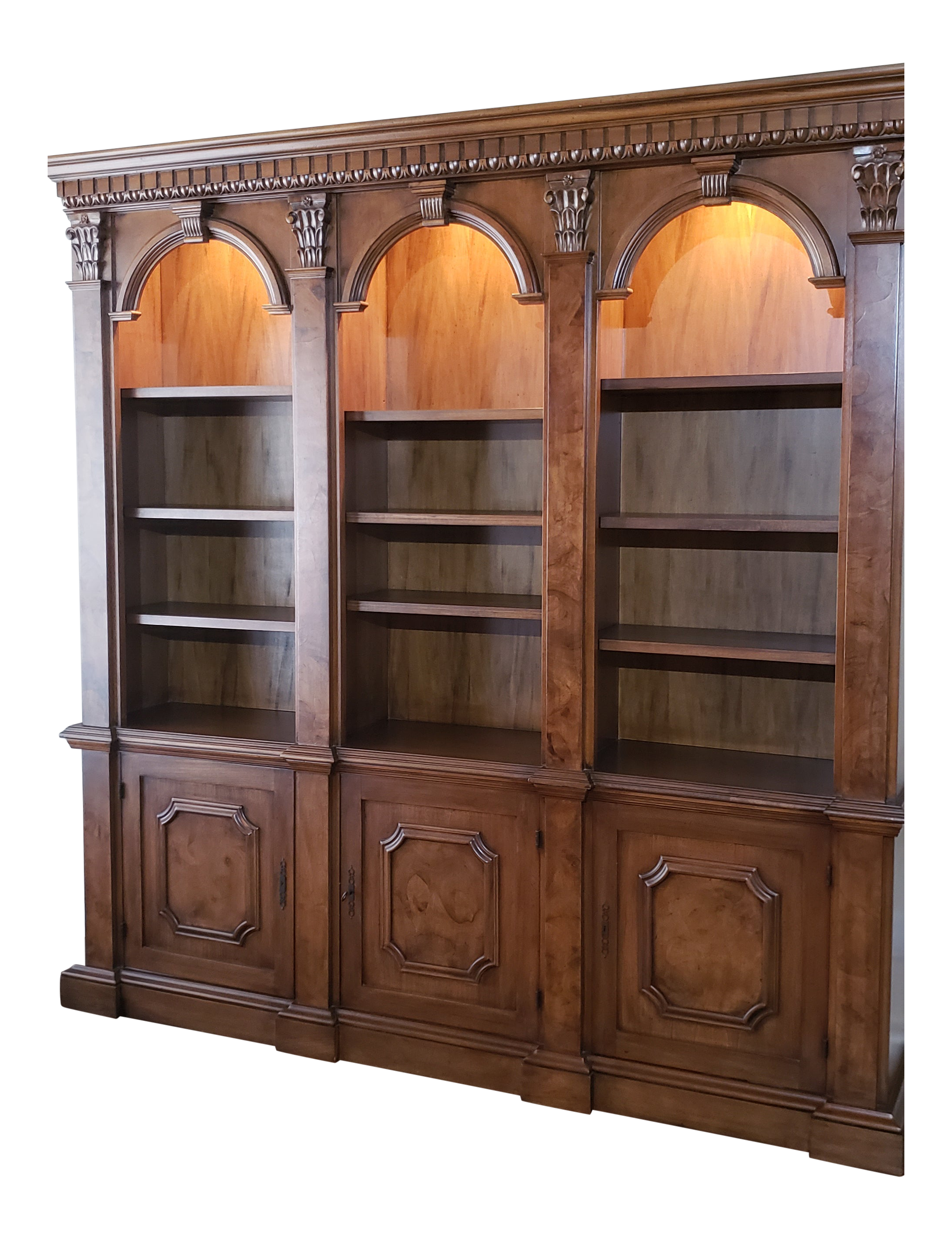 Architectural Bookcase With Burled Inlays And Locking Storage