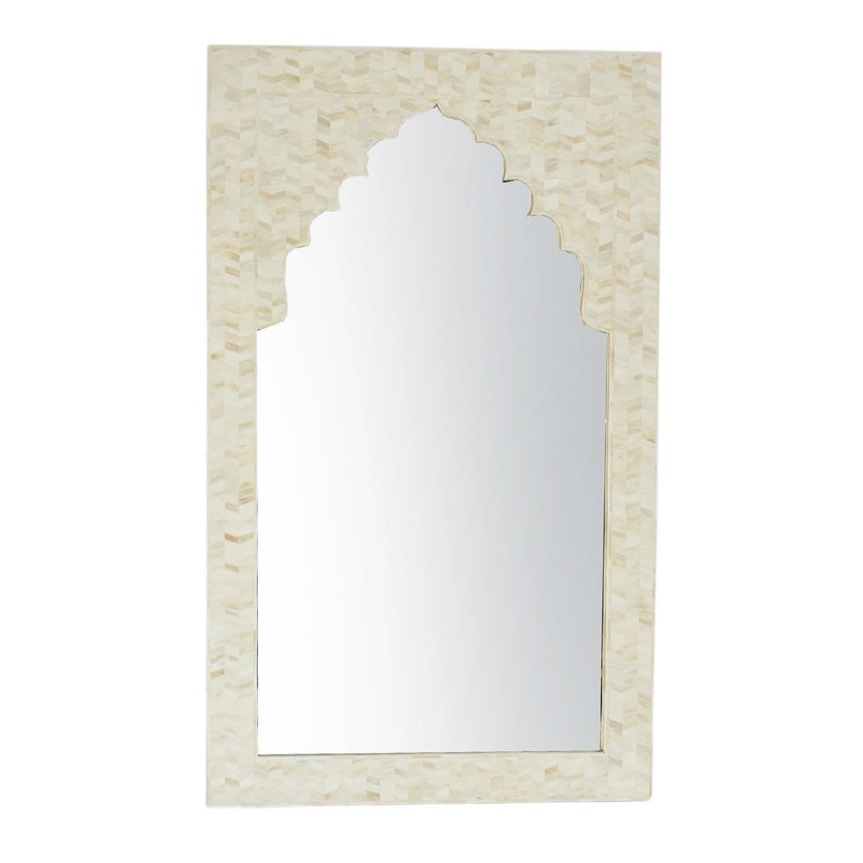 White Inlay Arch Mirror Frame | Chairish