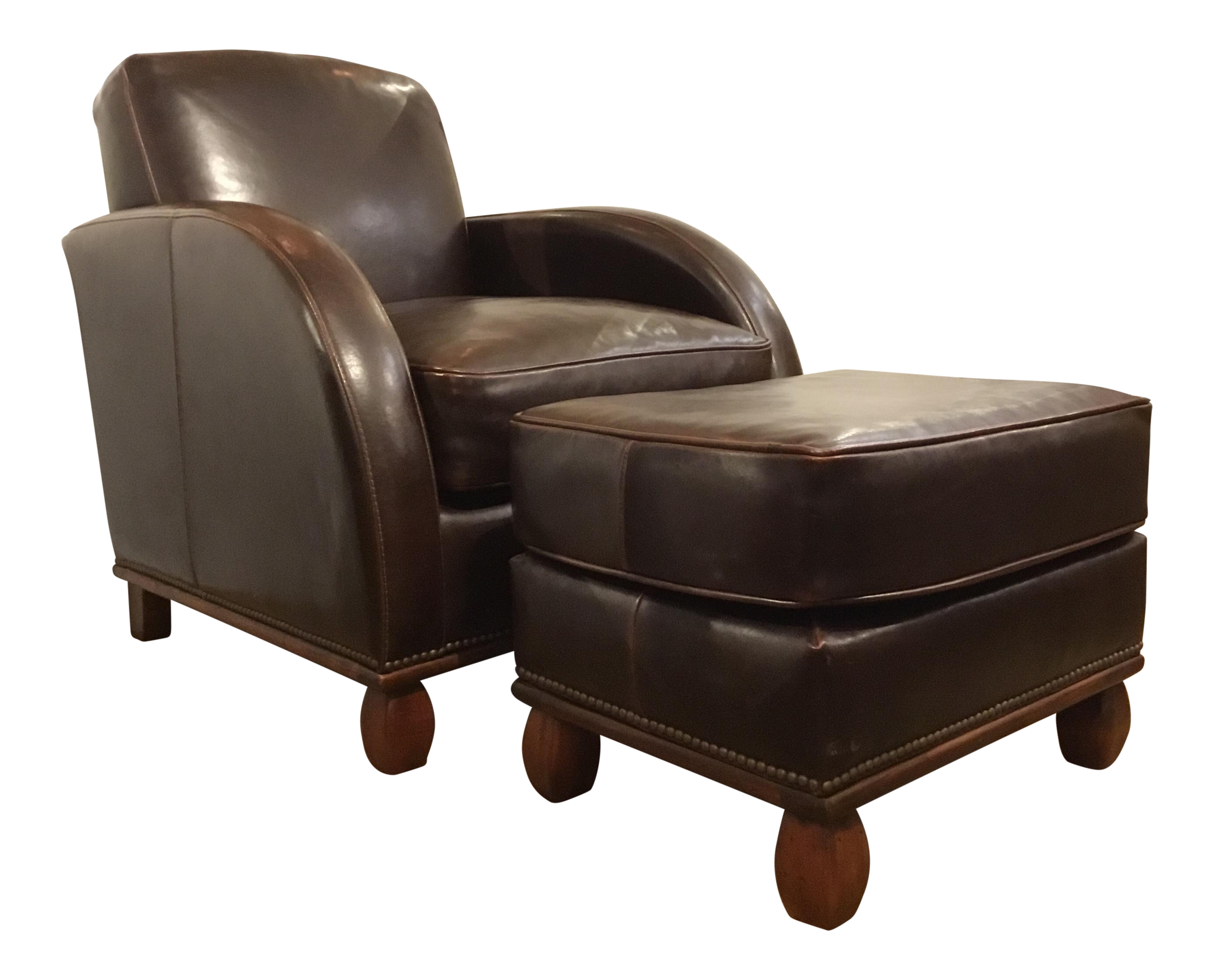 Awesome Art Deco Style Chocolate Brown Leather Club Chair And Ottoman Set Ncnpc Chair Design For Home Ncnpcorg