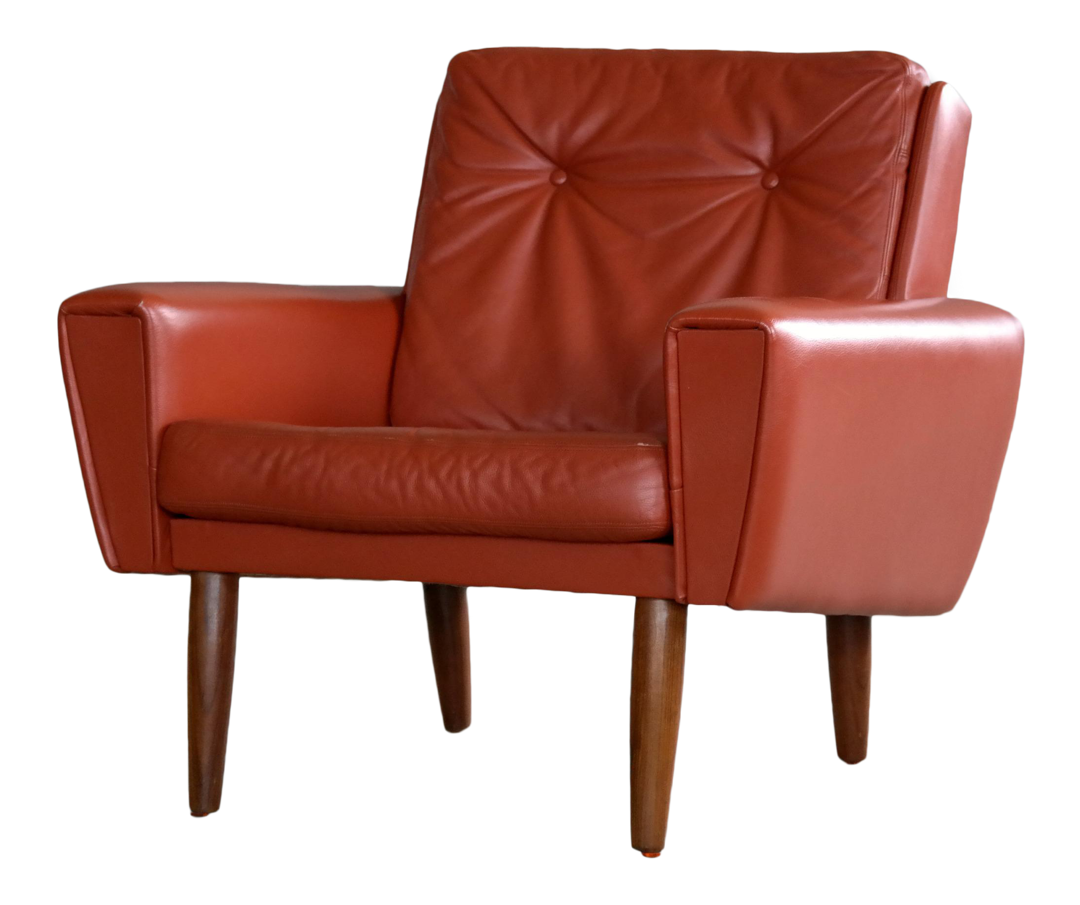 Danish Mid-Century Lounge Chair in Red Leather Manner of Illum Wikkelso | Chairish  sc 1 st  Chairish & Danish Mid-Century Lounge Chair in Red Leather Manner of Illum ...