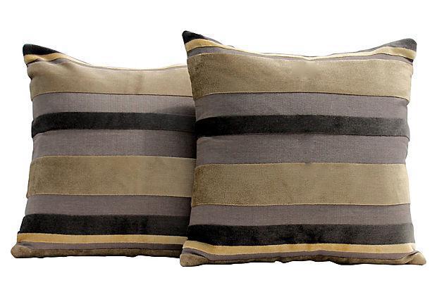 Gaston y daniela velvet stripe pillow covers a pair - Gaston y daniela sofas ...