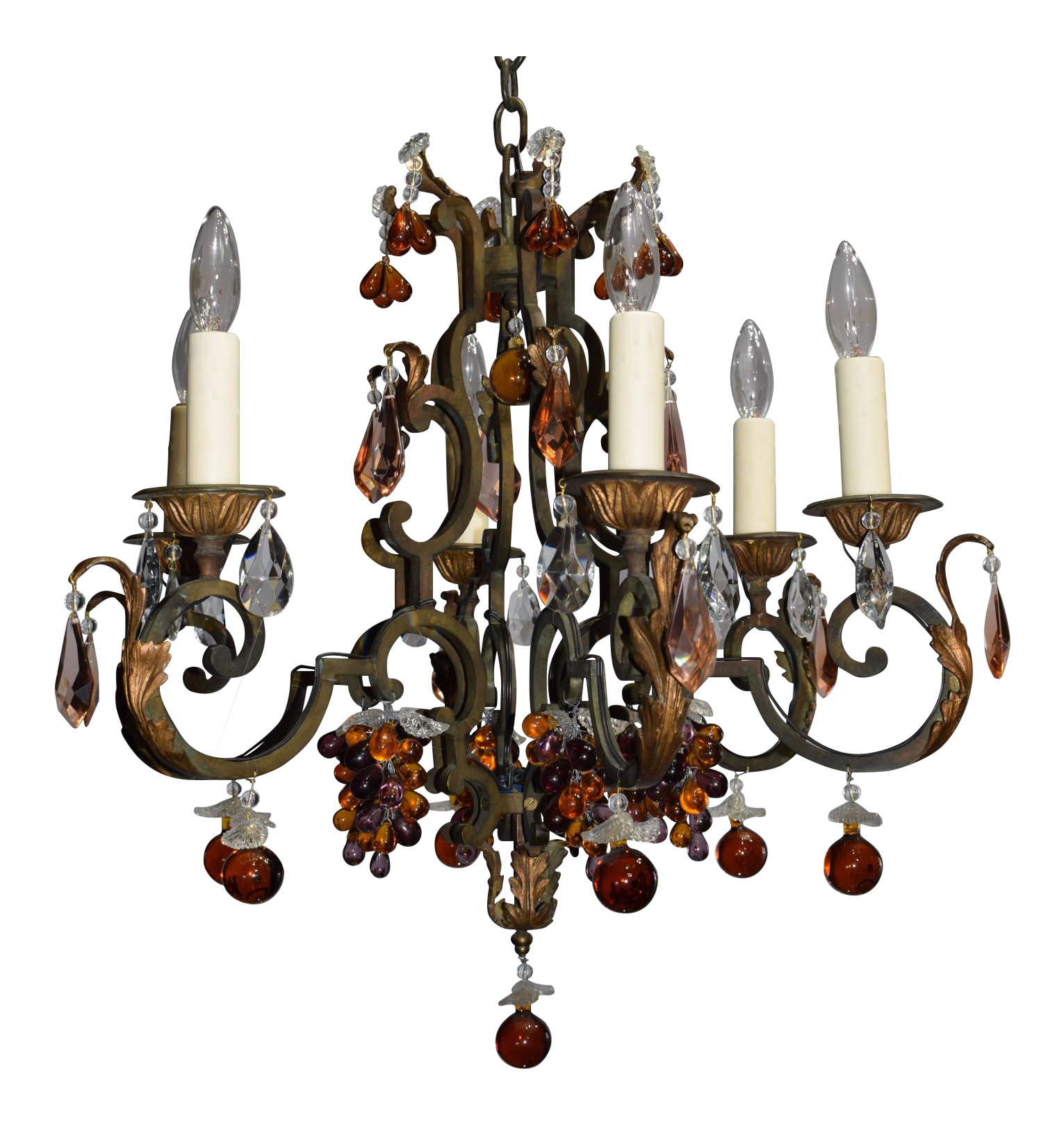 World Class Antique chandelier iron with crystal fruit