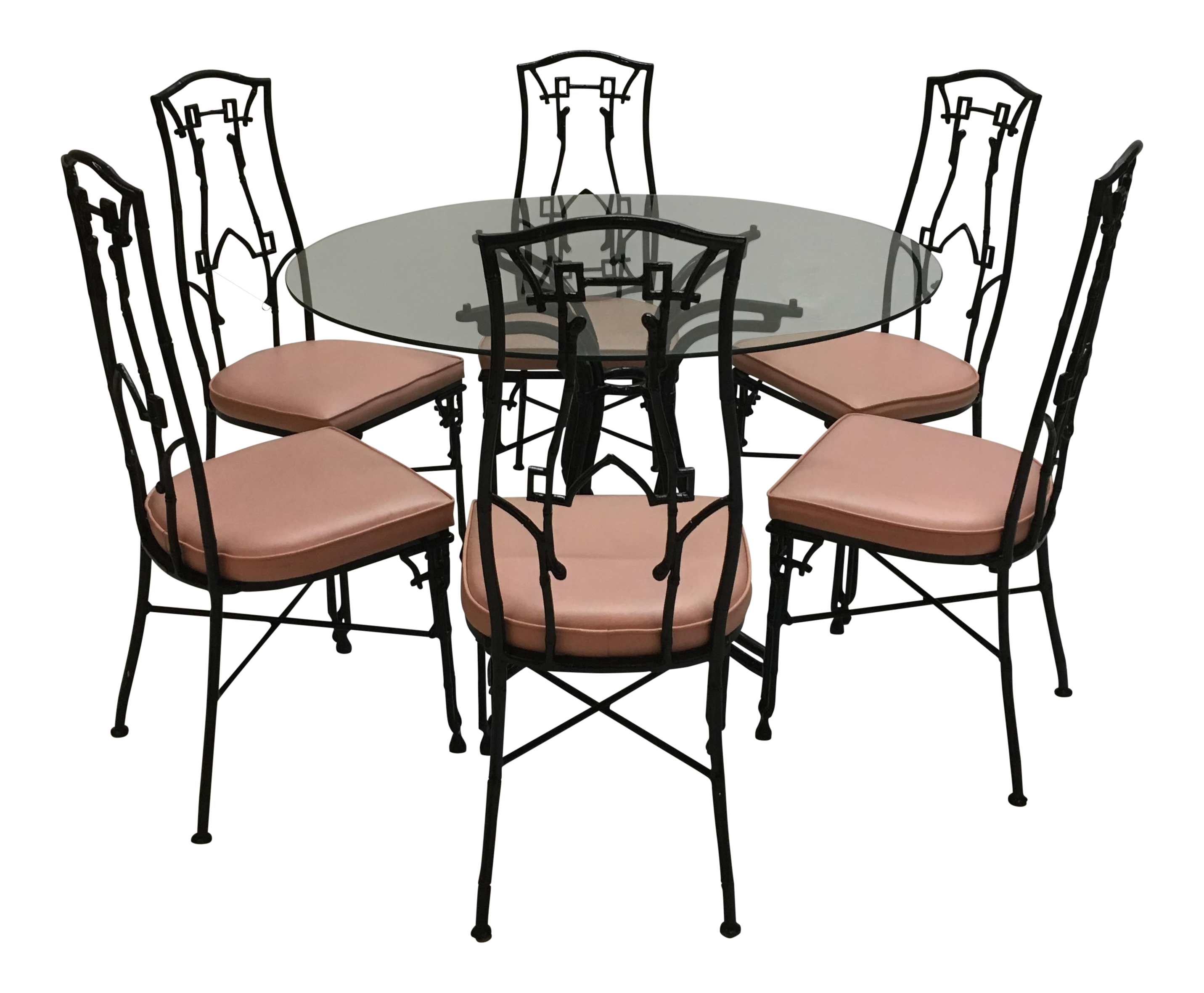Chinoiserie Pink Black Faux Bamboo Dining Chairs And Table