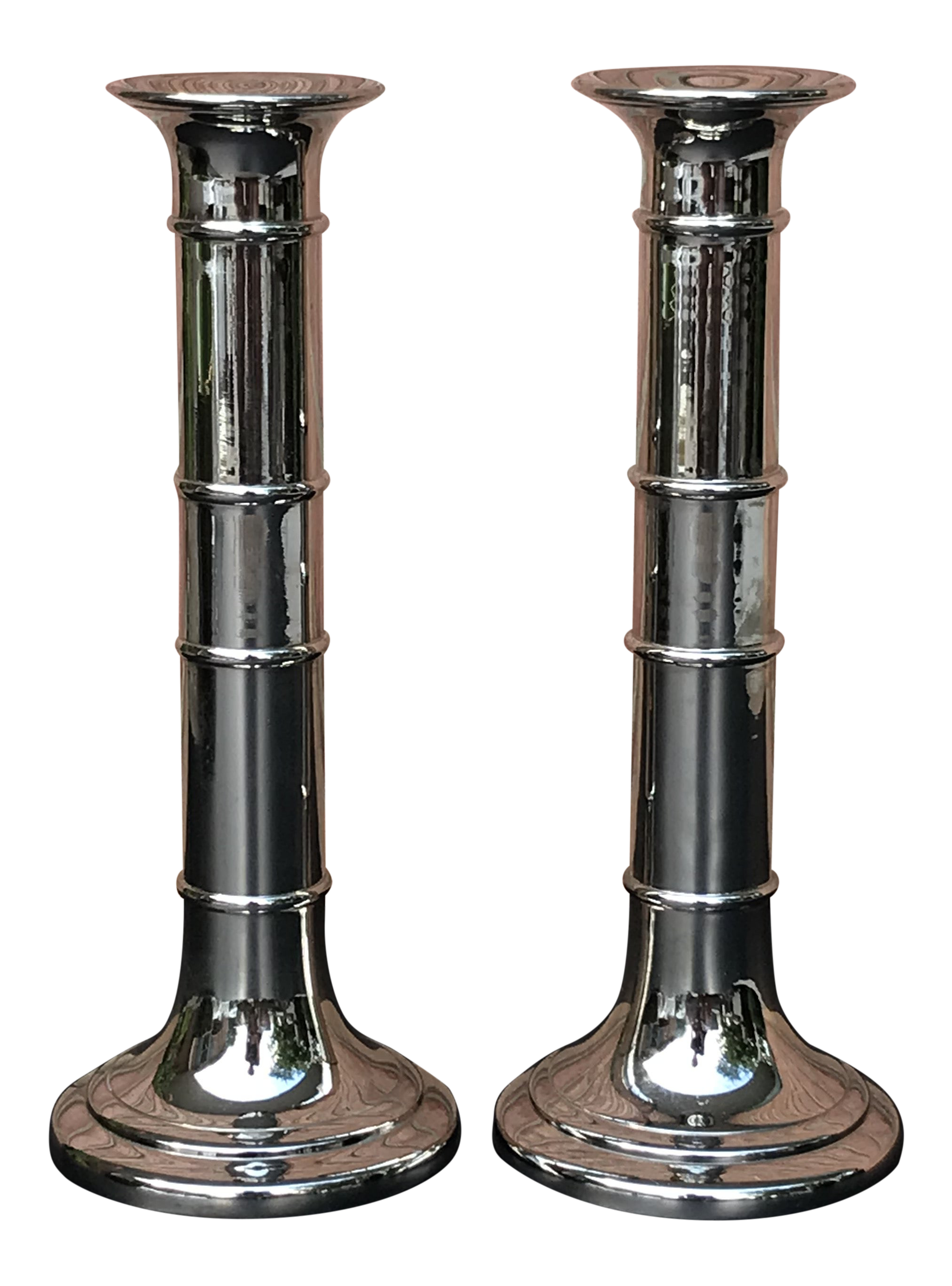 Orskov Danish Modern Silver Metal Candle Holders A Pair Chairish