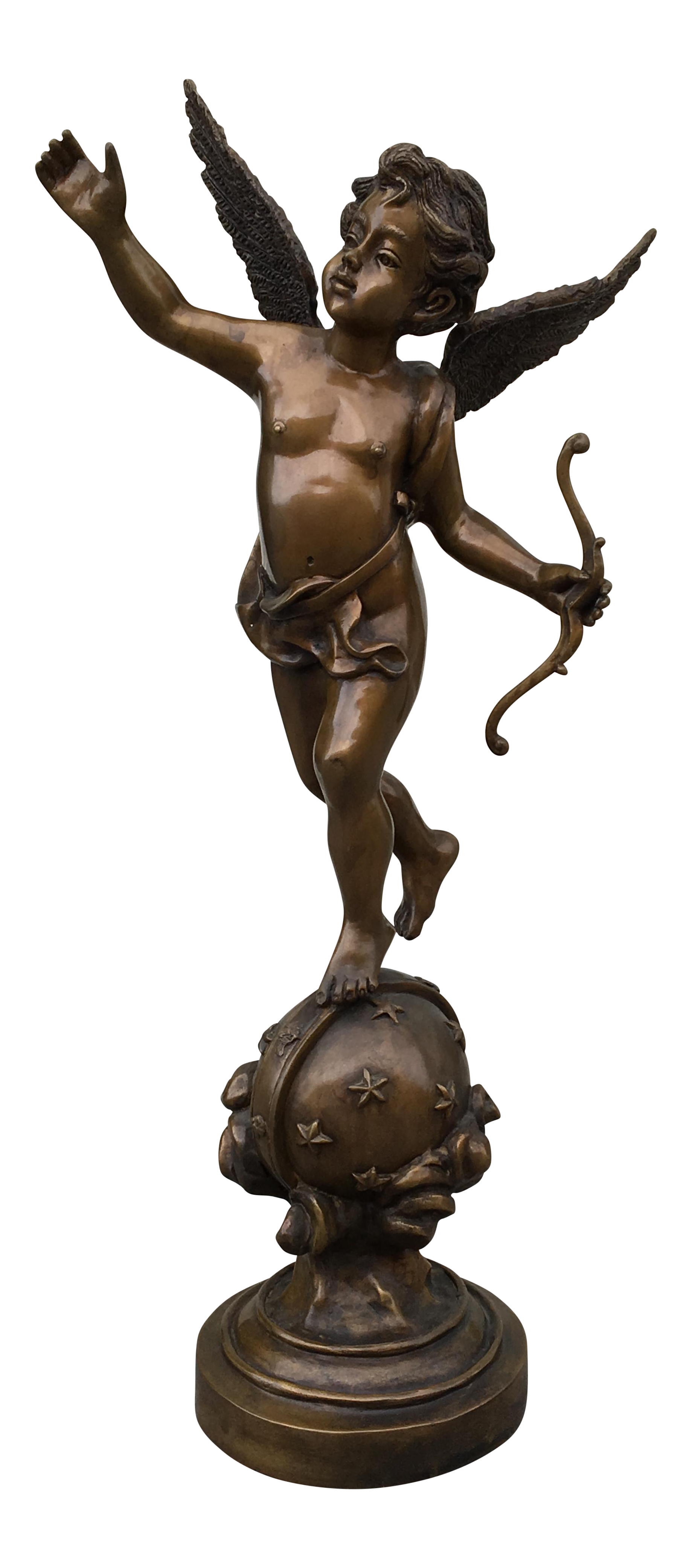 Vintage Bronze Cupid Statue Sculpture Chairish