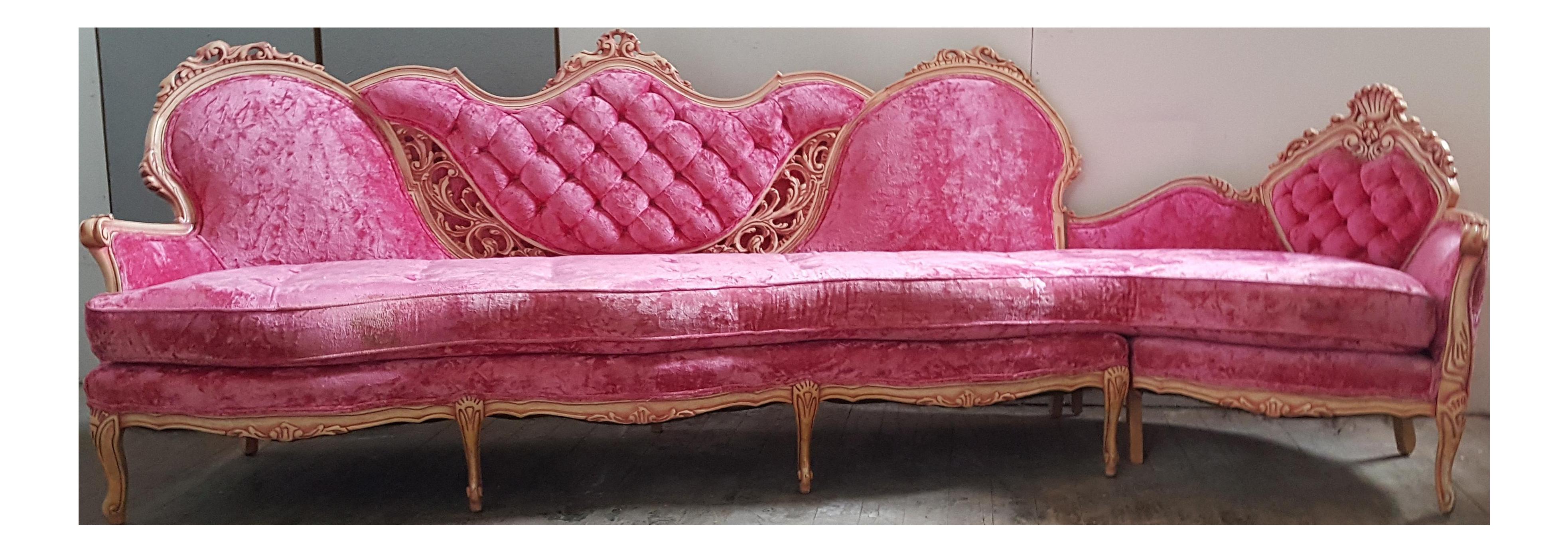 Vintage French Provincial Pink Velvet Sectional