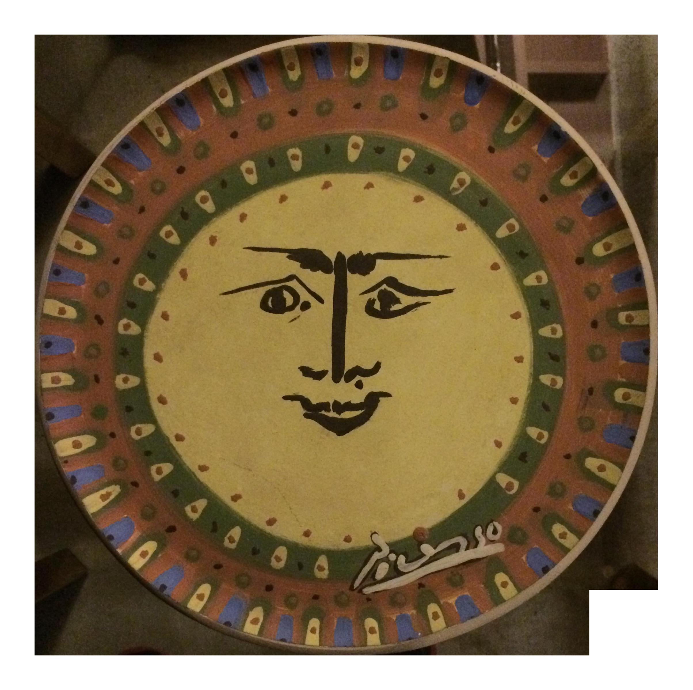 Picasso Sun Face Ceramic Plate | Chairish