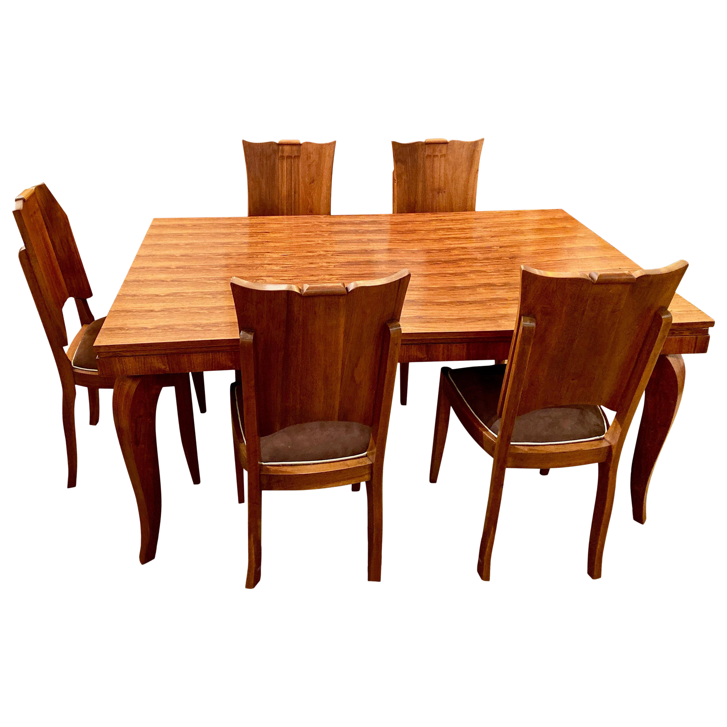 French Art Deco Dining Room Suite Buffet, Table 6 Chairs Attrib. To Jule  Leleu