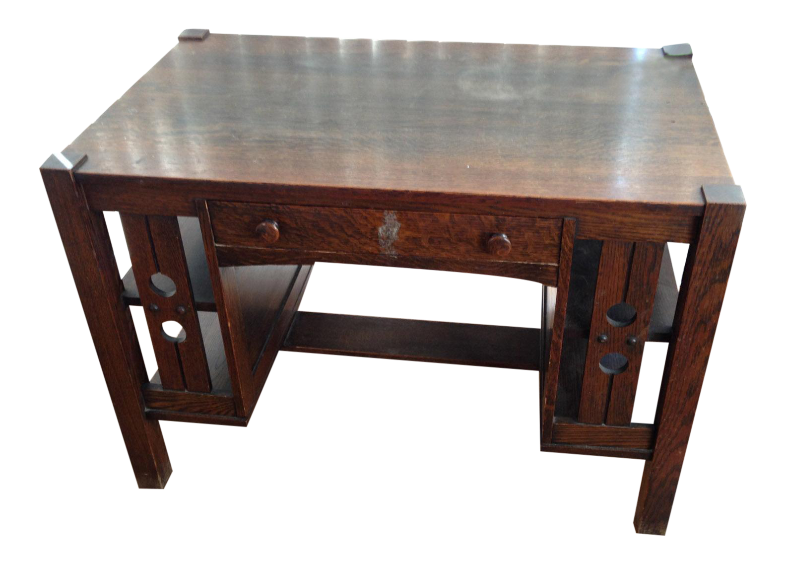 - Antique Mission Oak Arts And Crafts Library Desk With Shelves Chairish