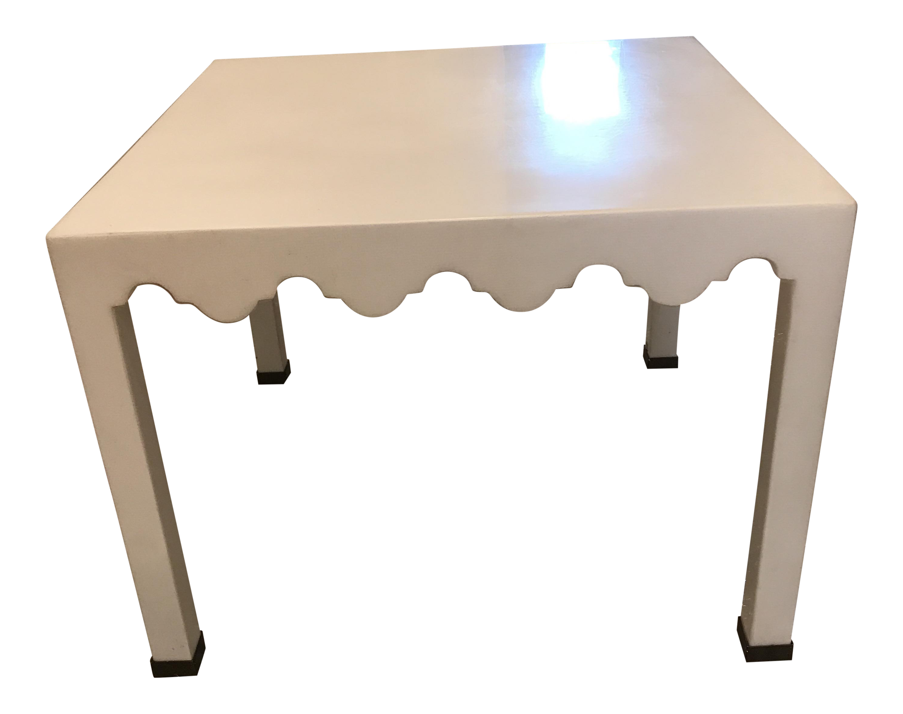 White Lacquered Seagrass Coffee Side Table