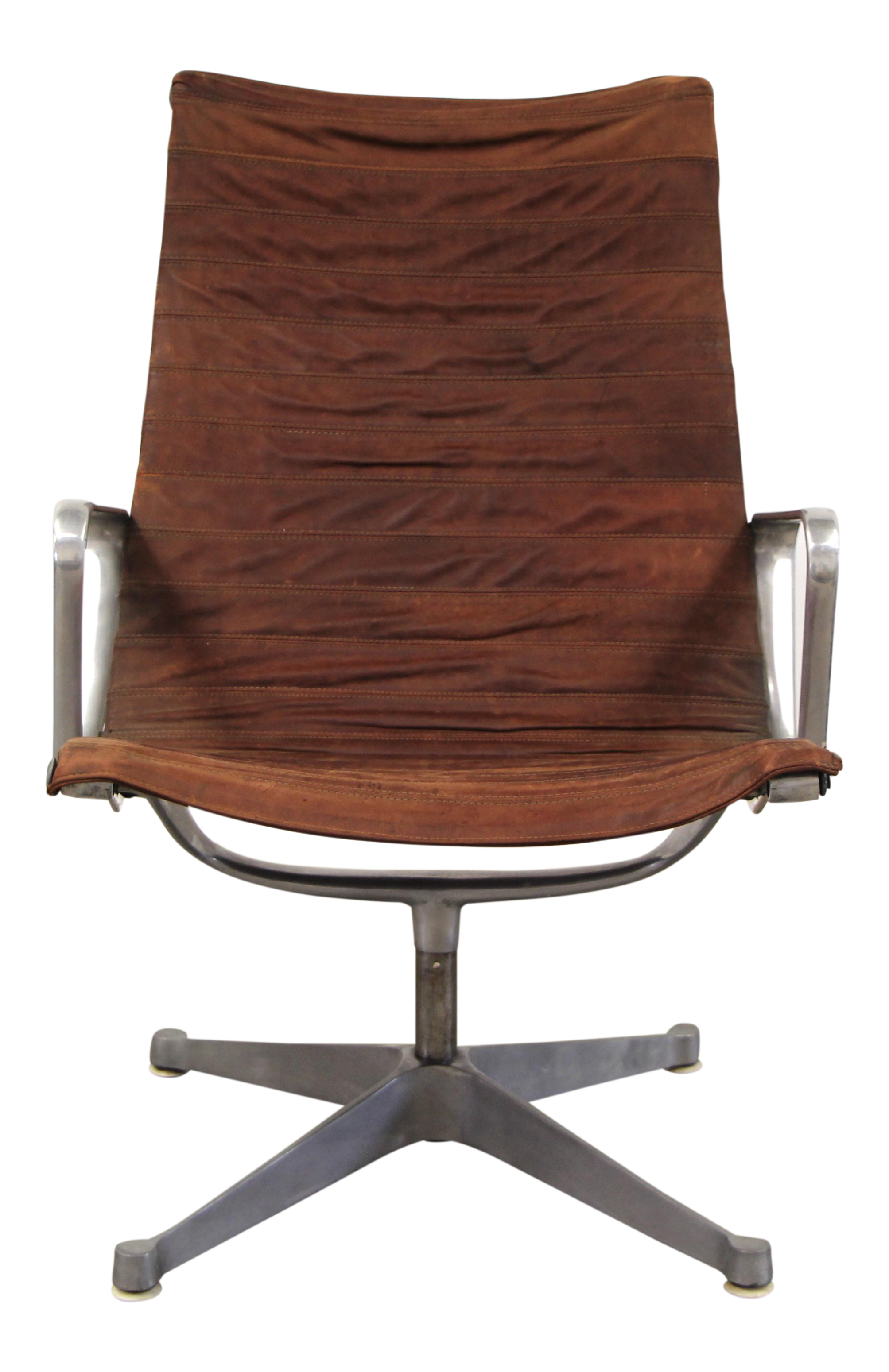 1960s Vintage Distressed Leather Eames Aluminum Group Lounge Chair