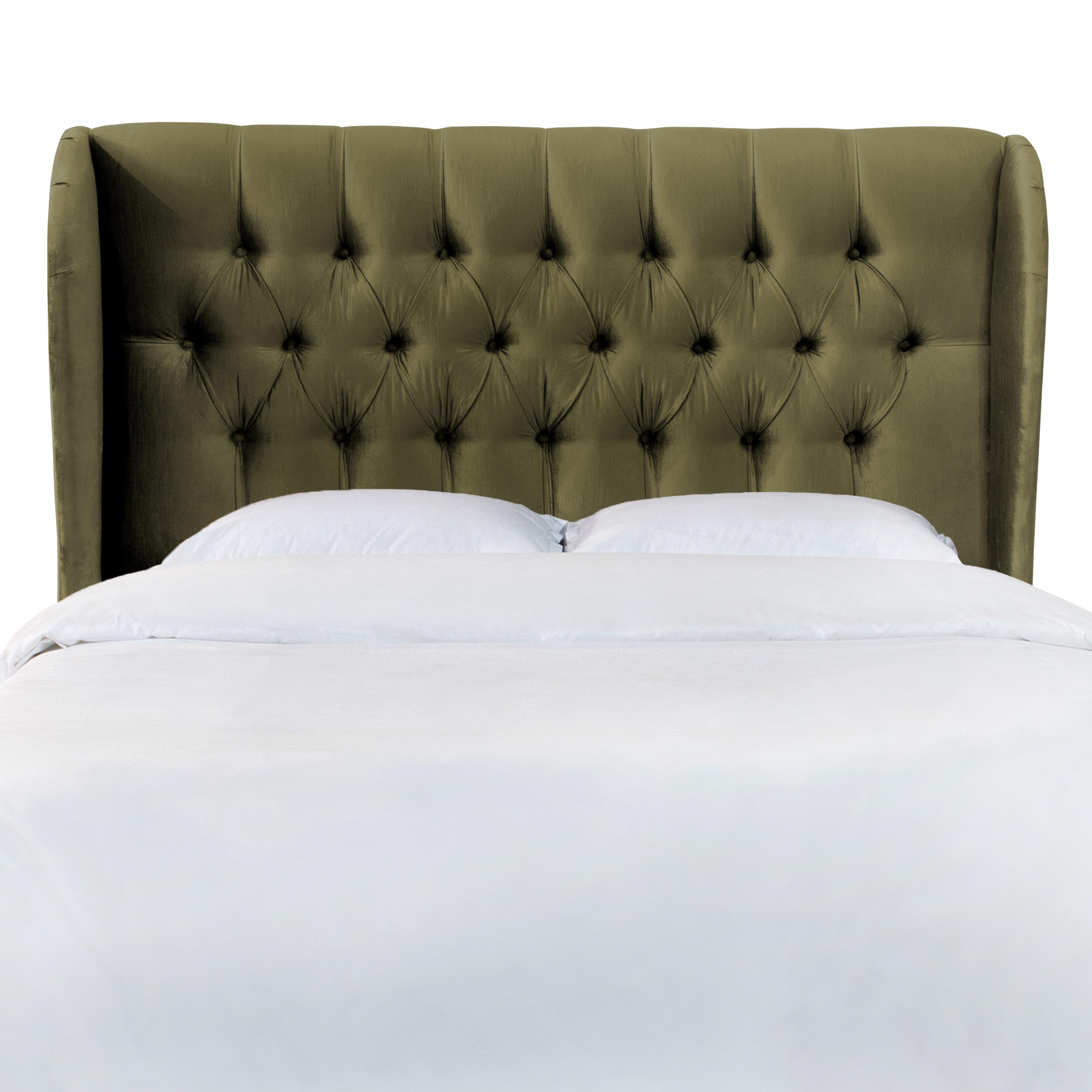 Queen tufted wingback headboard in majestic pine chairish