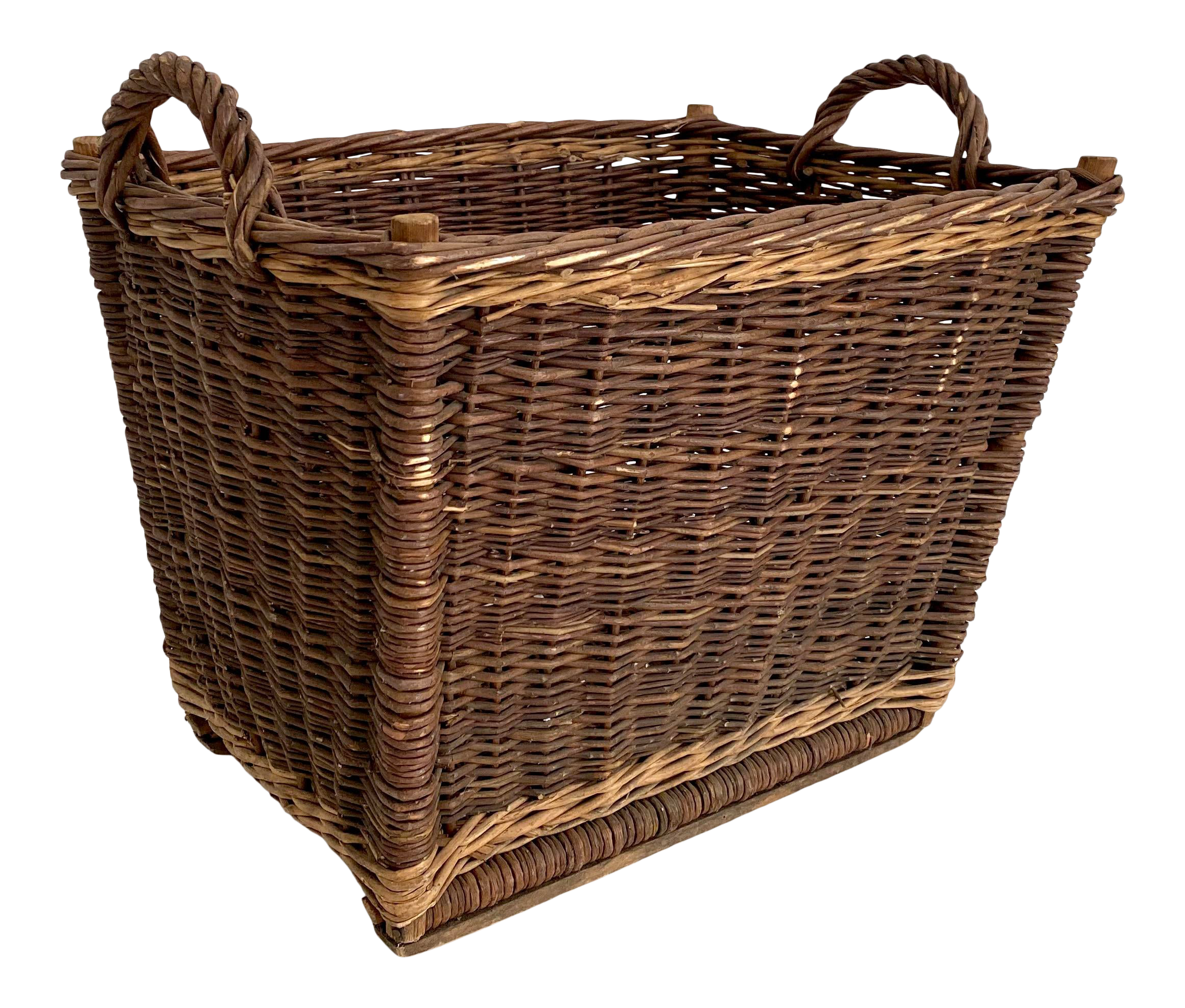 Vintage Lrg woven wicker picnic basket French Market Basket Large lined natural weave handled farmhouse country home decor french
