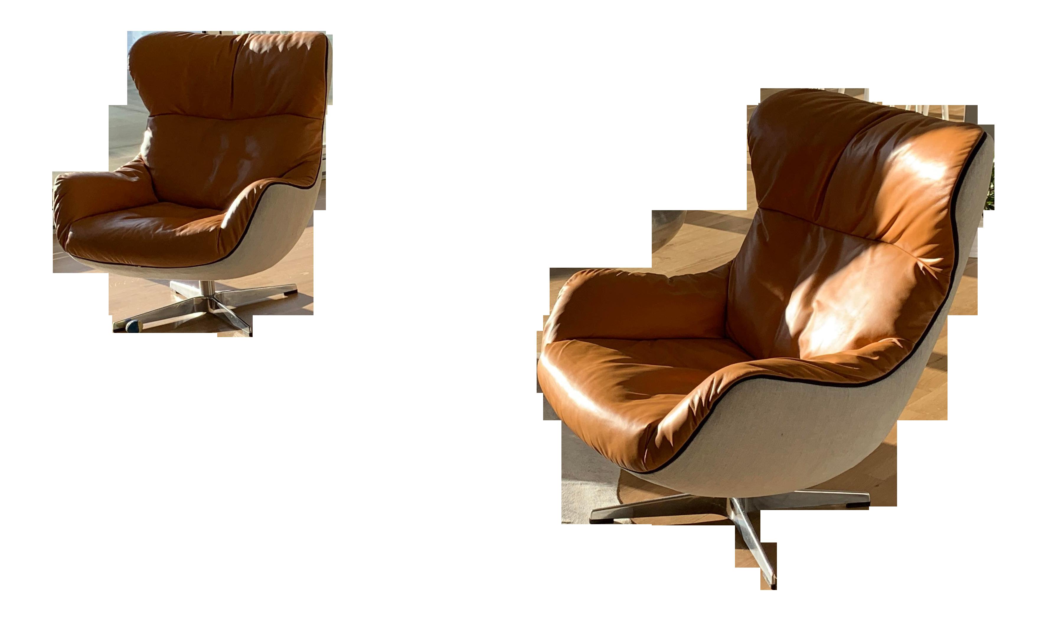 Terrific Modern Cognac Leather Eq3 Arie Lounge Chairs A Pair Theyellowbook Wood Chair Design Ideas Theyellowbookinfo