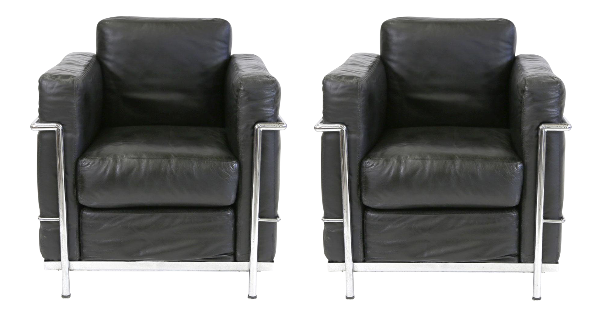 vintage le corbusier style black leather club chairs a pair chairish