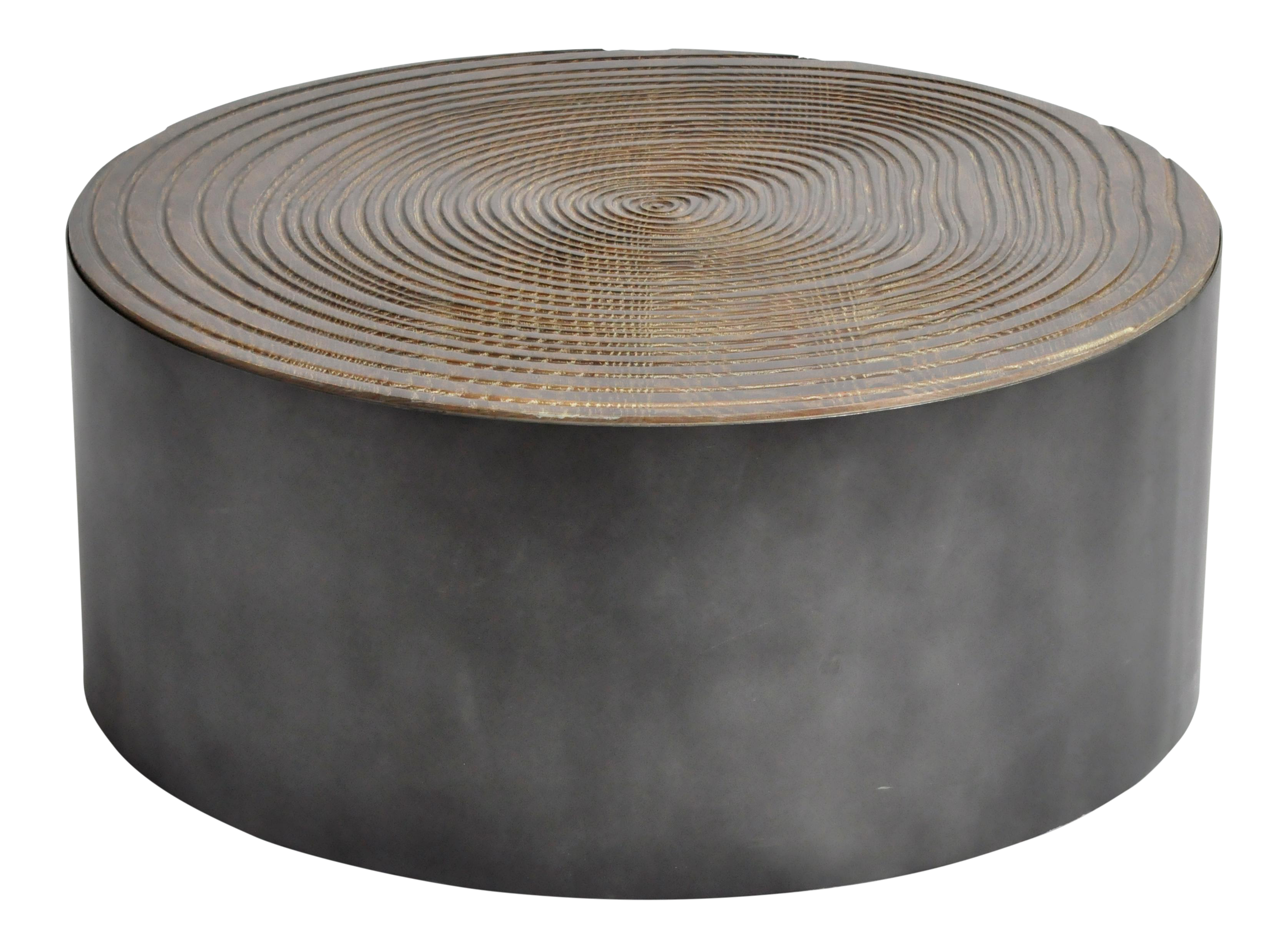 Superb Parisian Round Oak Wood Coffee Table With Metal Base Decaso