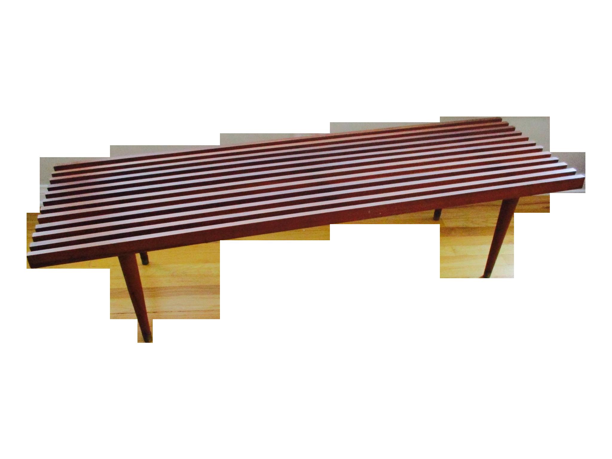 Danish Modern Teak Slat Bench Coffee Table