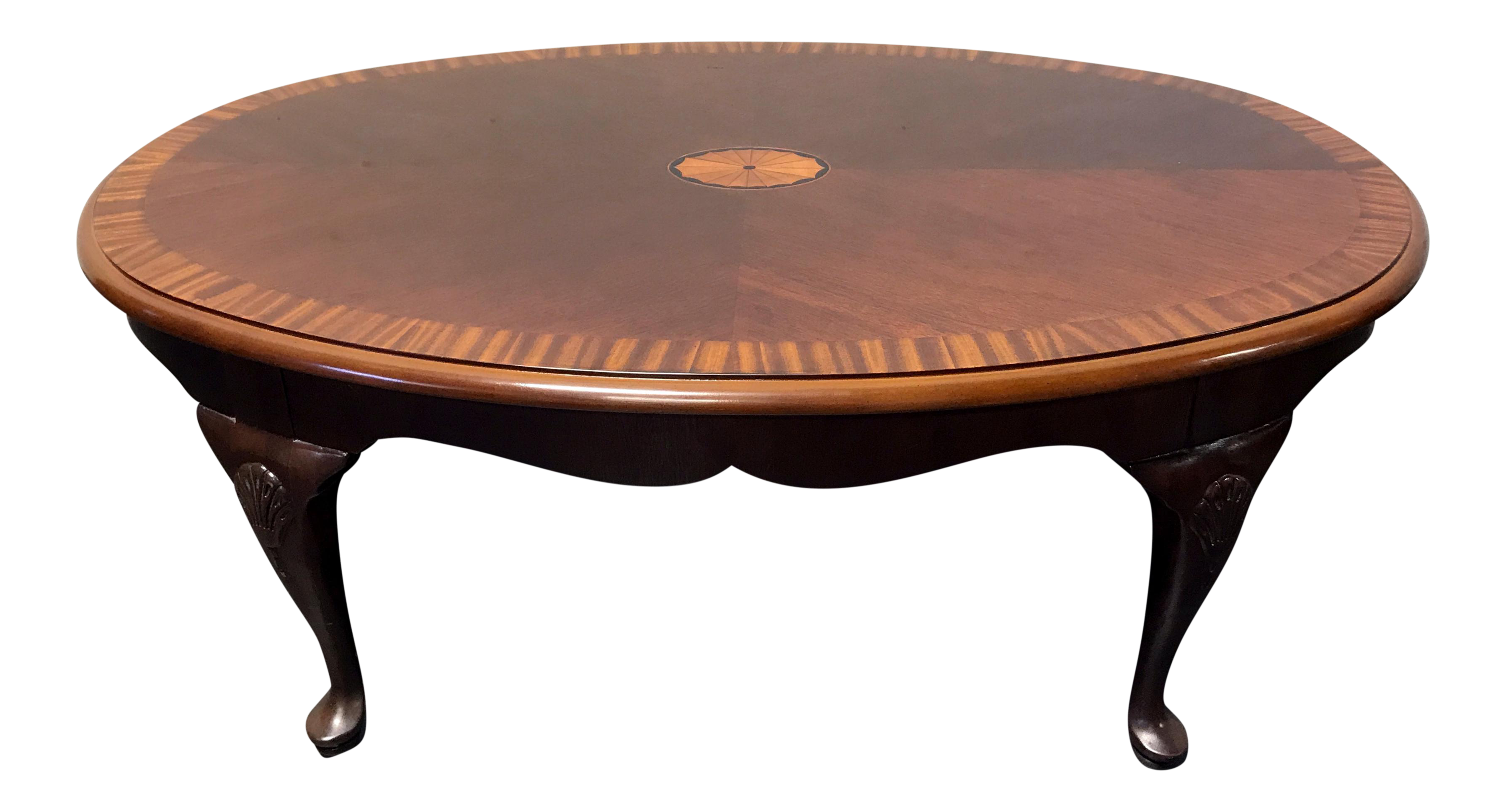Drexel Banded Inlaid Mahogany Queen Anne Coffee Table