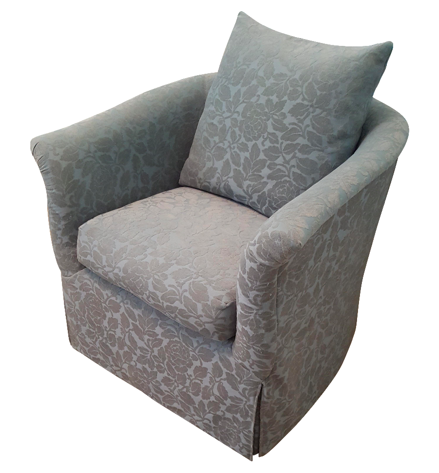 Marge Carson Grey Urquoise Swivel Club Chair Chairish