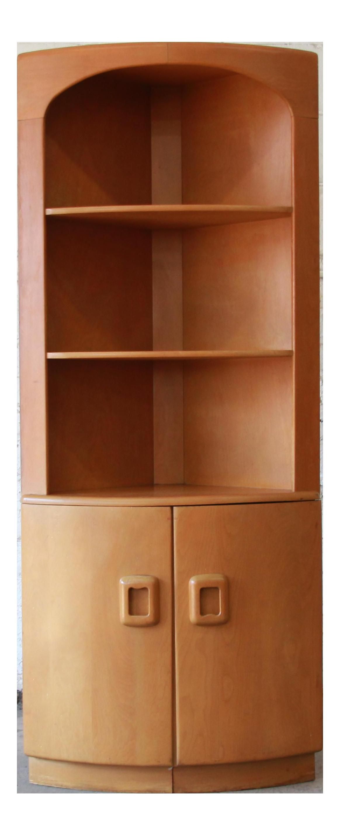 Heywood Wakefield Mid Century Modern Corner Cabinet In Wheat