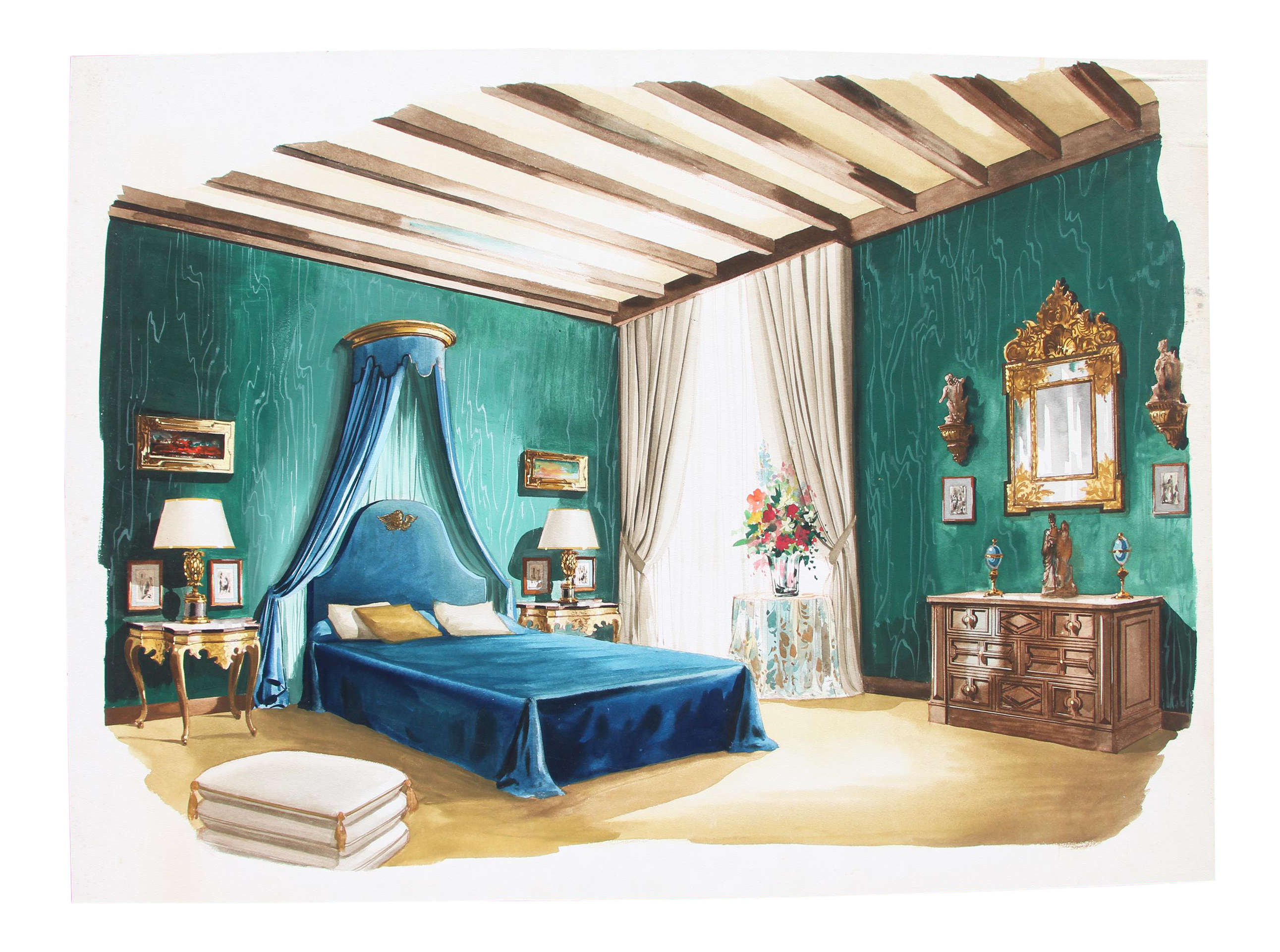 1960s French Interior Gouache Design Project Depicting A Bedroom Chairish