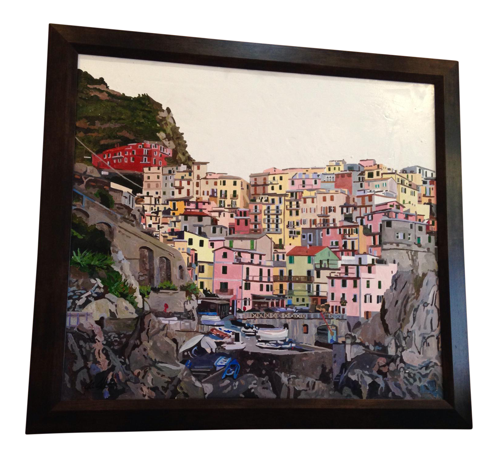 quotmanarola cinque terrequot original painting chairish With best brand of paint for kitchen cabinets with cinque terre wall art