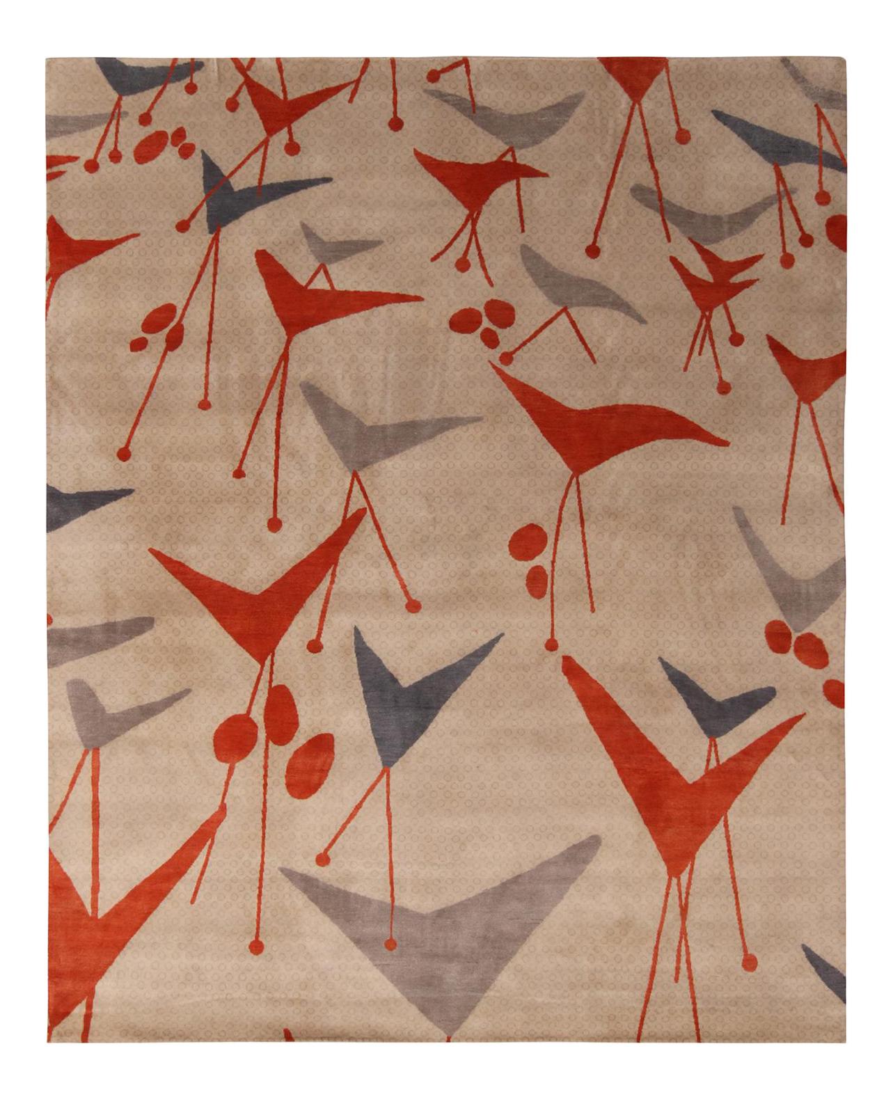 Rug Kilim S Mid Century Modern Geometric Beige Gray And Red Wool And Silk Rug Chairish