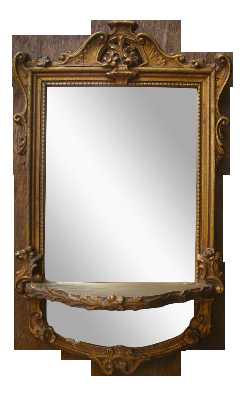 Antique French Gilt Mirror W Wall Shelf