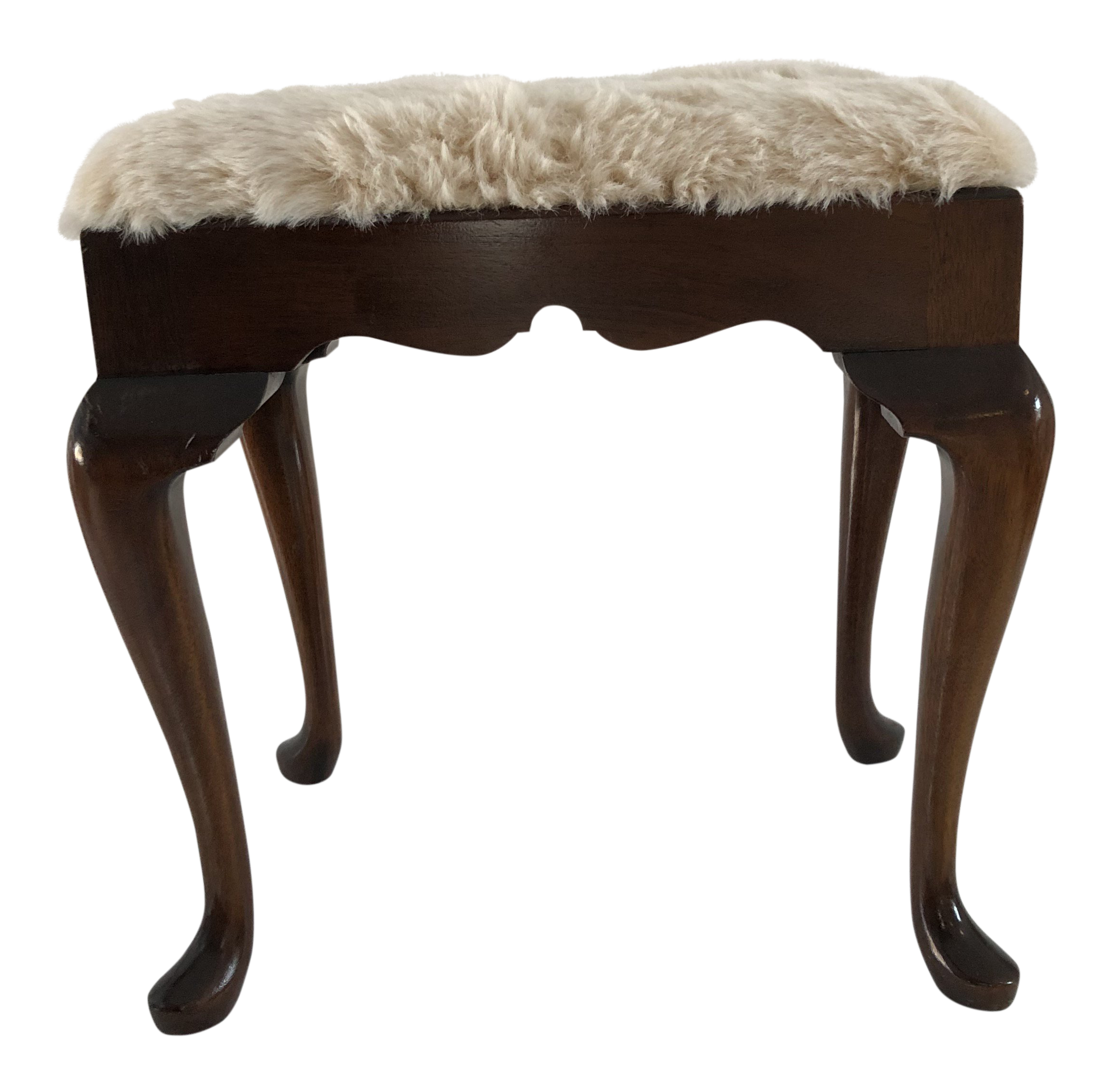 1980s Vintage Mahogany Queen Anne Style Faux Fur Bench Chairish