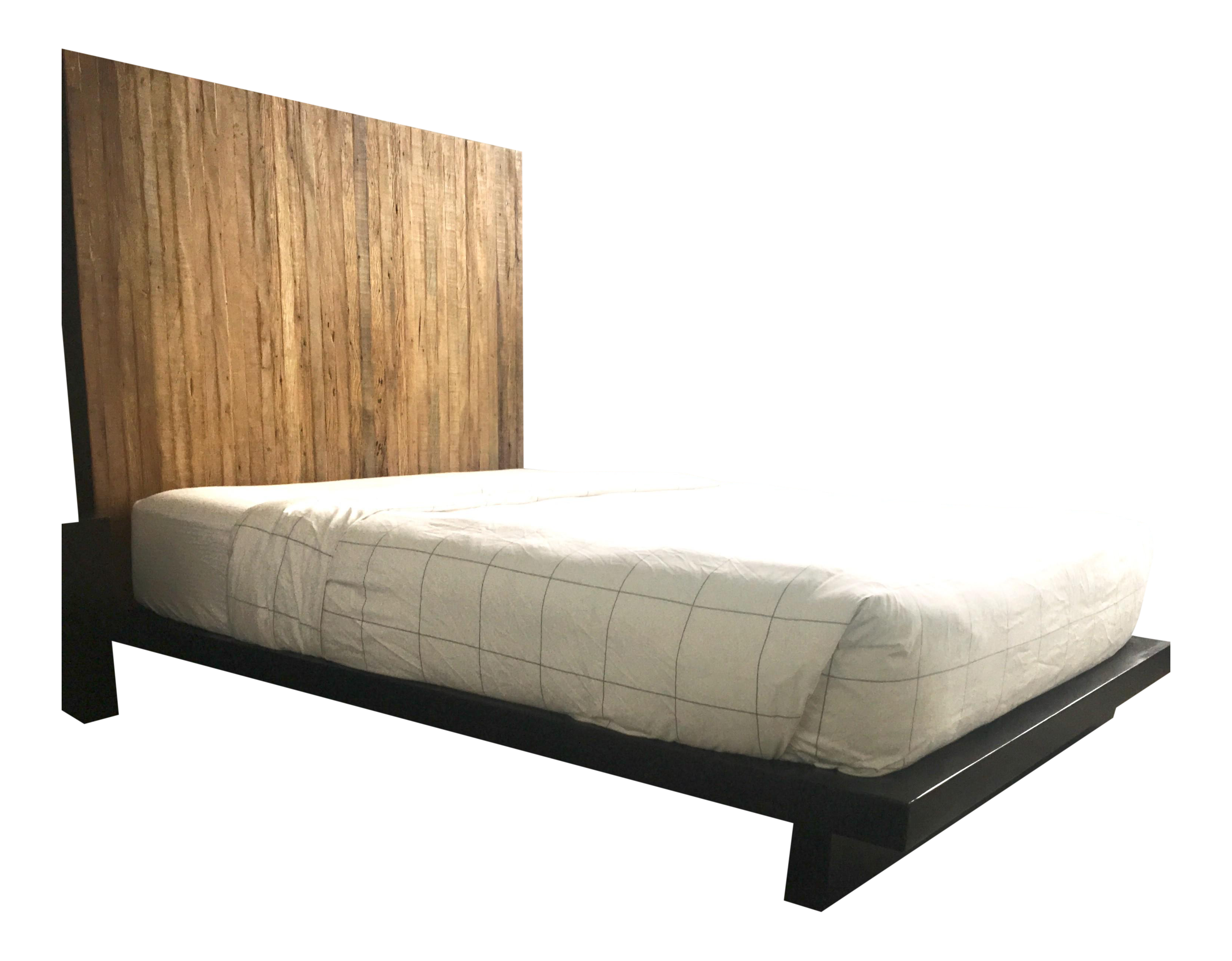 Rustic Reclaimed Peroba Wood Platform Bed With Tall Headboard Parati By Environment Furniture Chairish