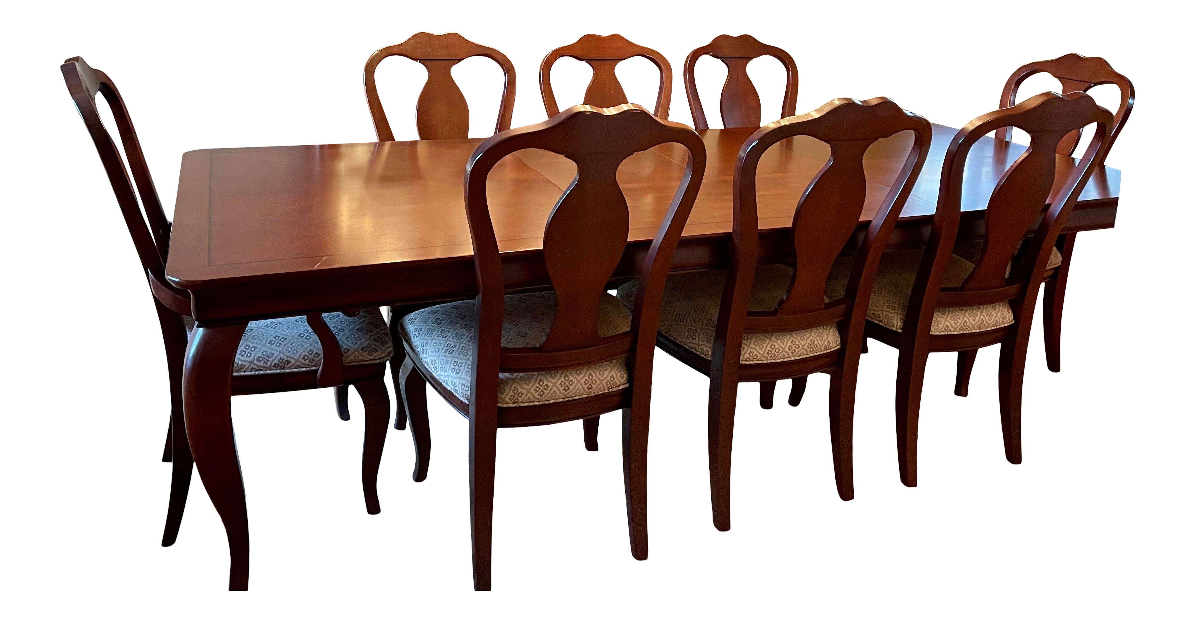 Cherry Wood Expandable Dining Room Table 8 Chairs Chairish