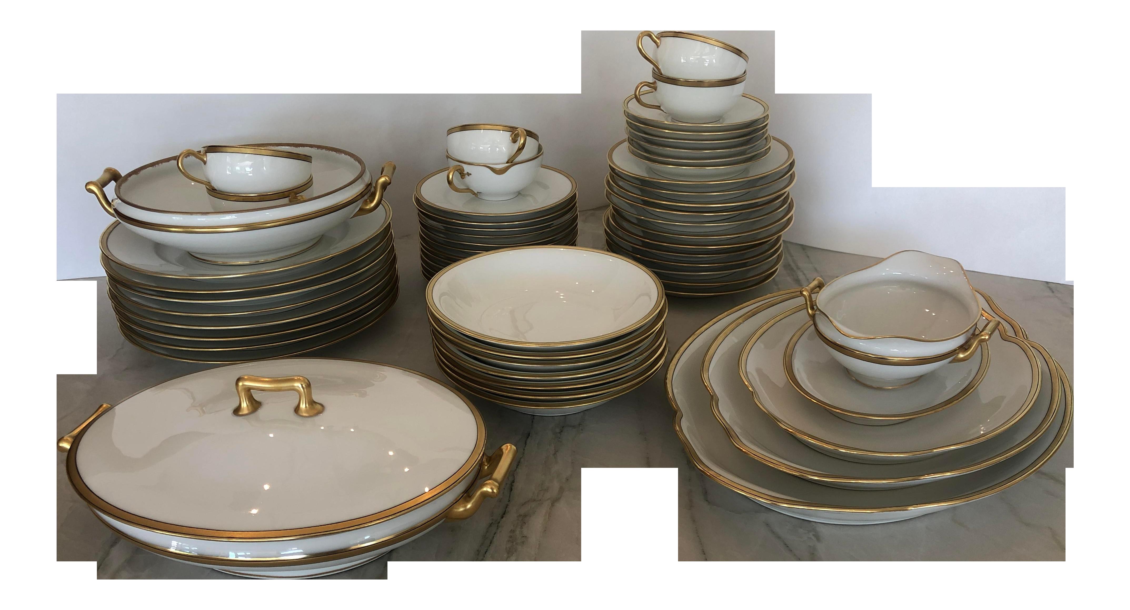 """Deco De Table Bretonne theodore havilland limoges 'breton"""" china set - 61 pieces"""