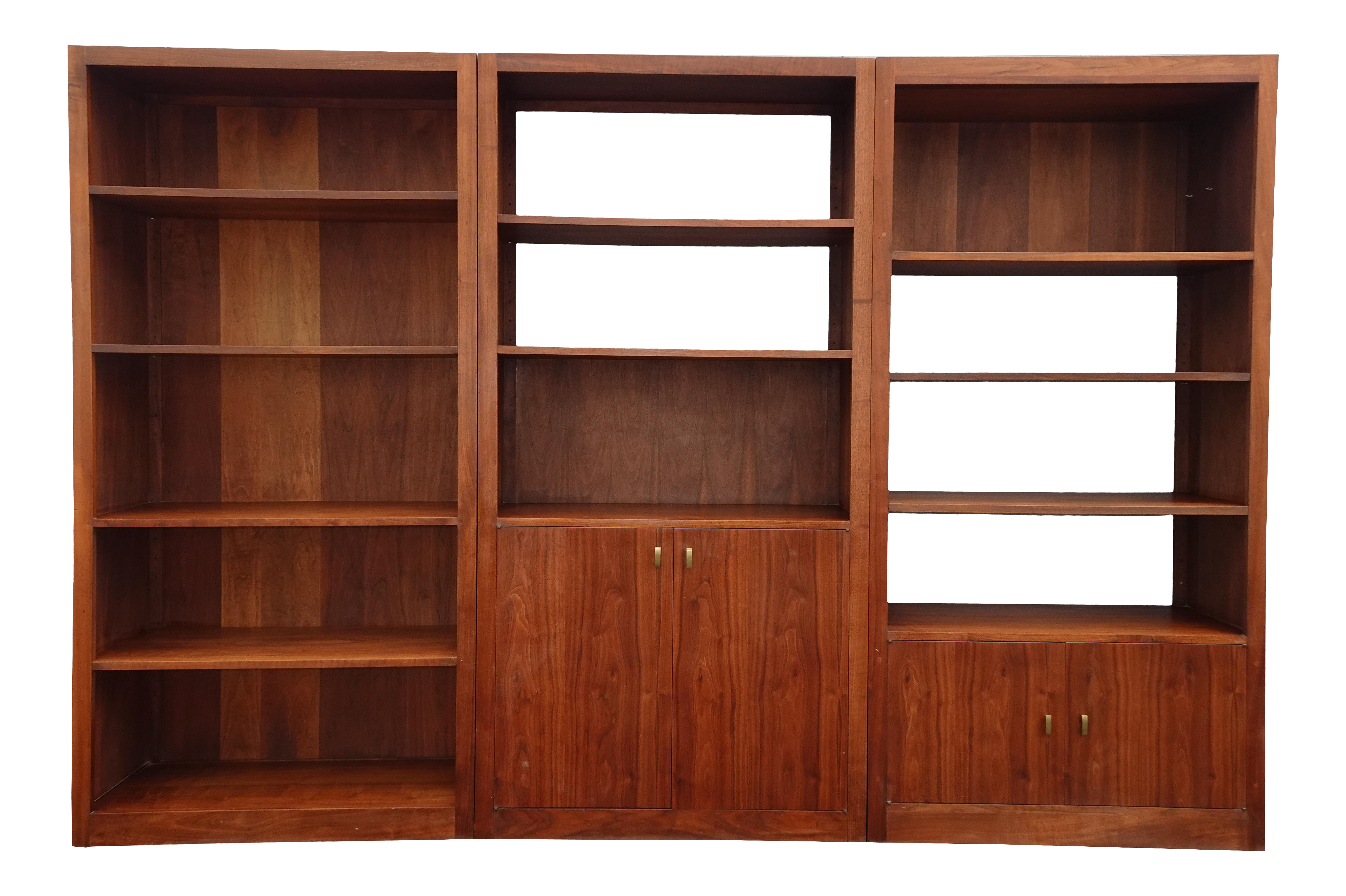 Vintage Mid Century Danish Modern Walnut Three Section Bookcase Wall Unit