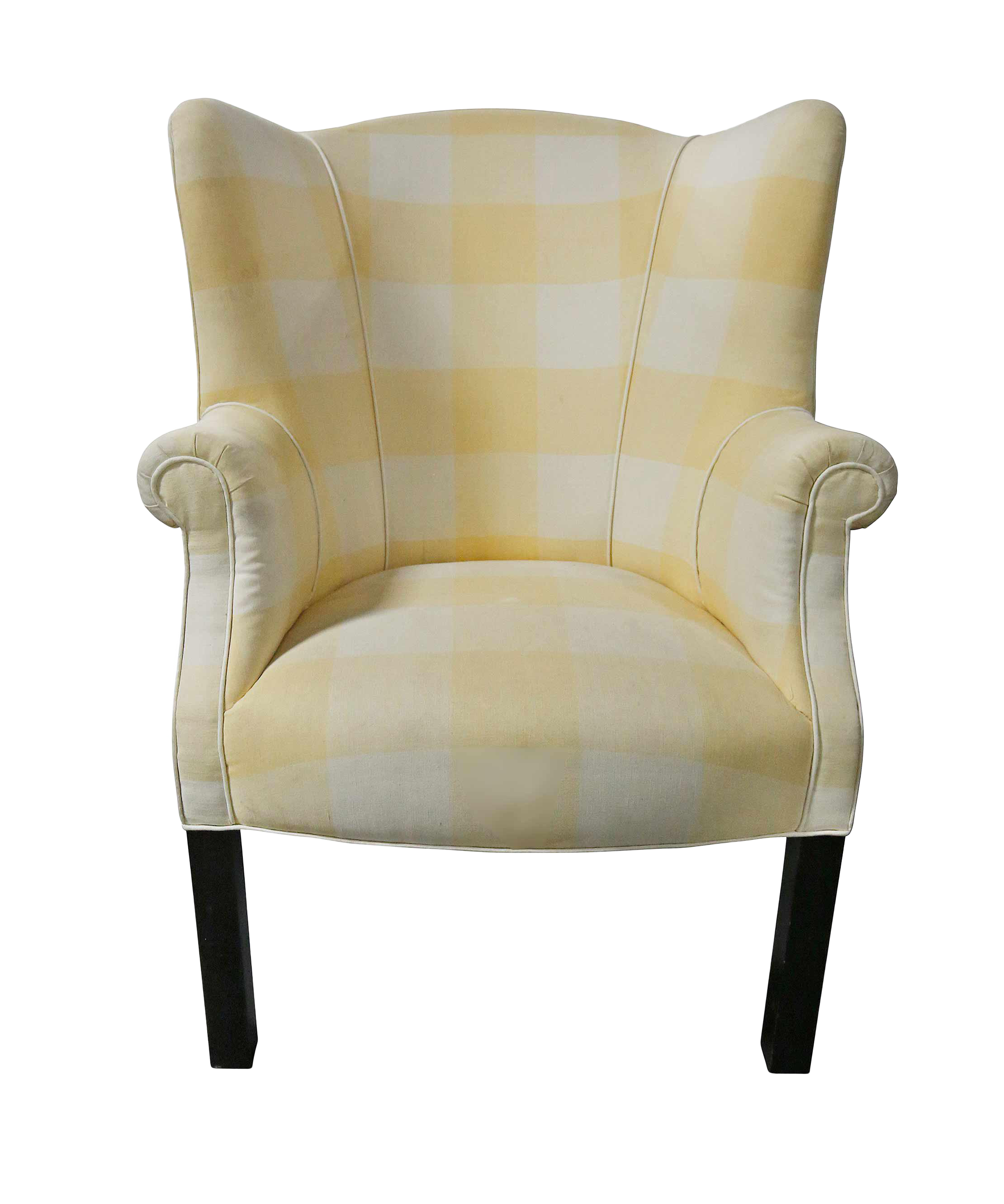20Th Century Traditional Armchair White And Yellow Upholstery Wingback Chair