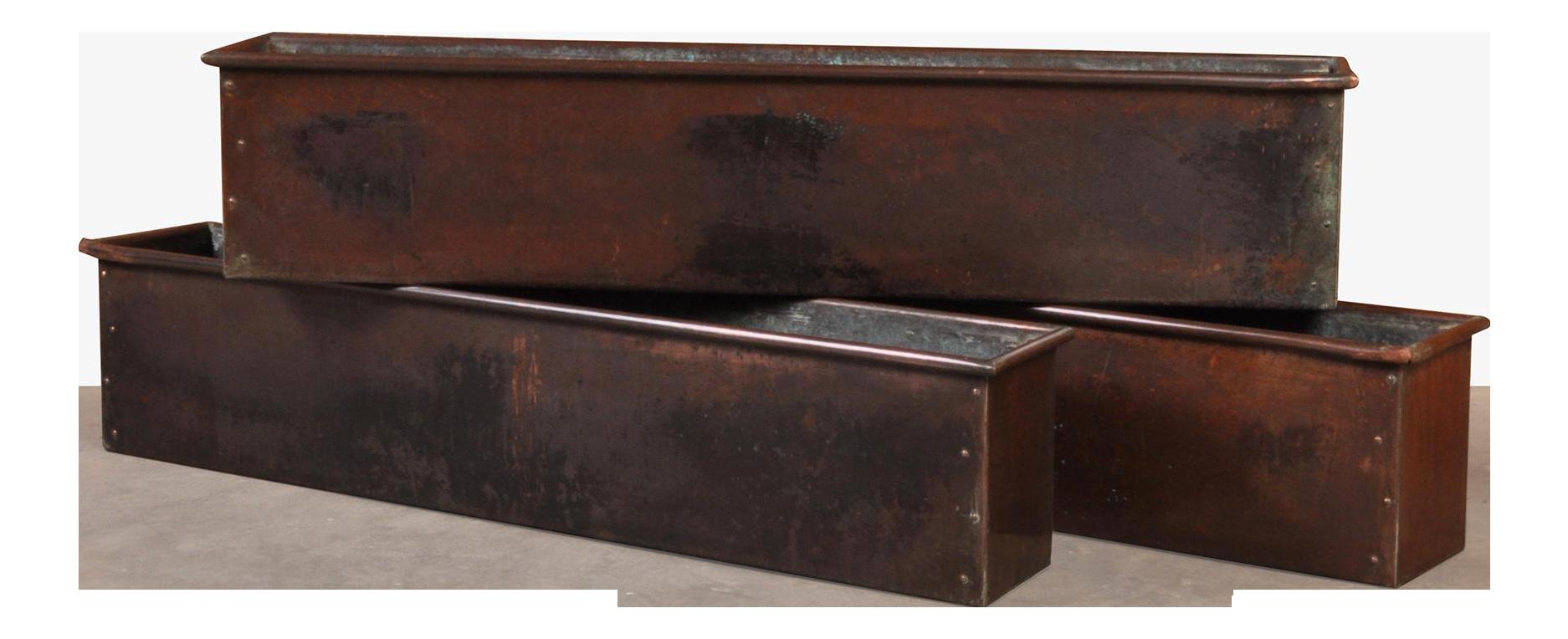 Set Of 3 Copper Window Box Switzerland Mid Century Chairish