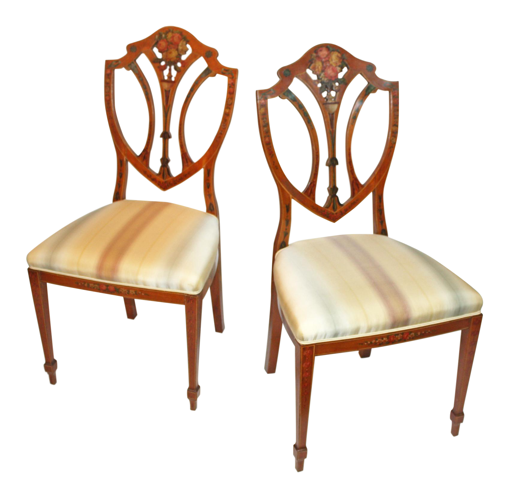 Sophisticated Pair Of Painted Edwardian Satinwood Shield Back Chairs    DECASO