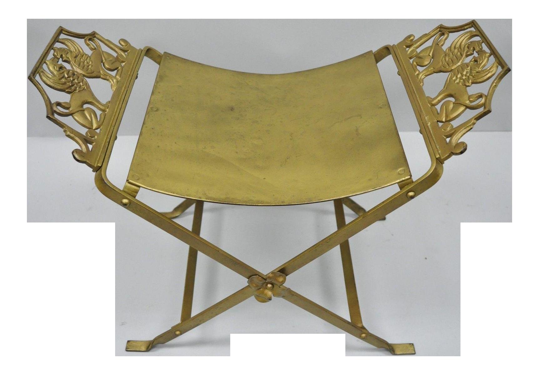1900s Wrought Iron Art Nouveau Lion Griffin Gold Brass X-Form Bench ...