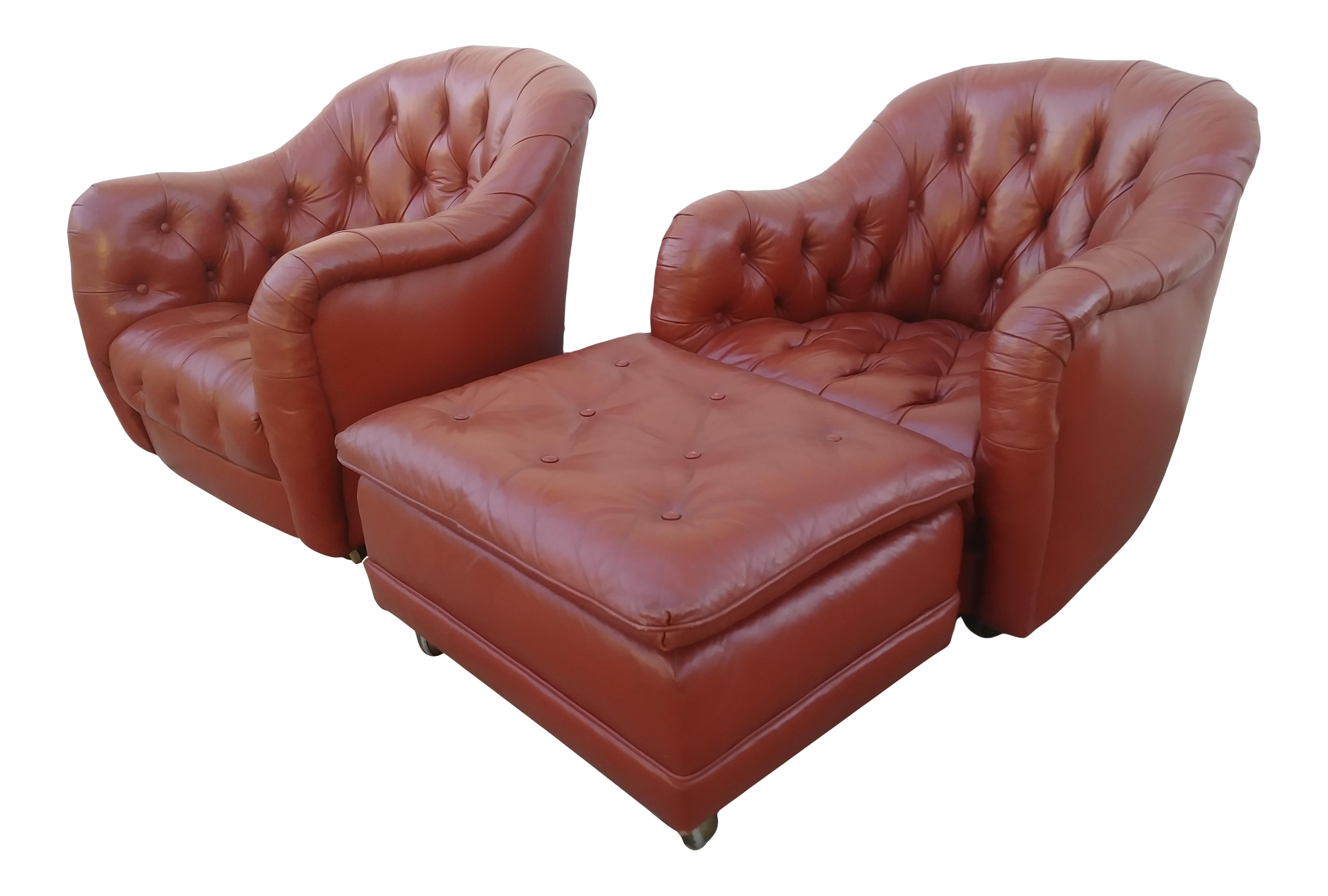 Vintage Mid Century Italian Tufted Leather Chairs Ottoman 3 Pieces
