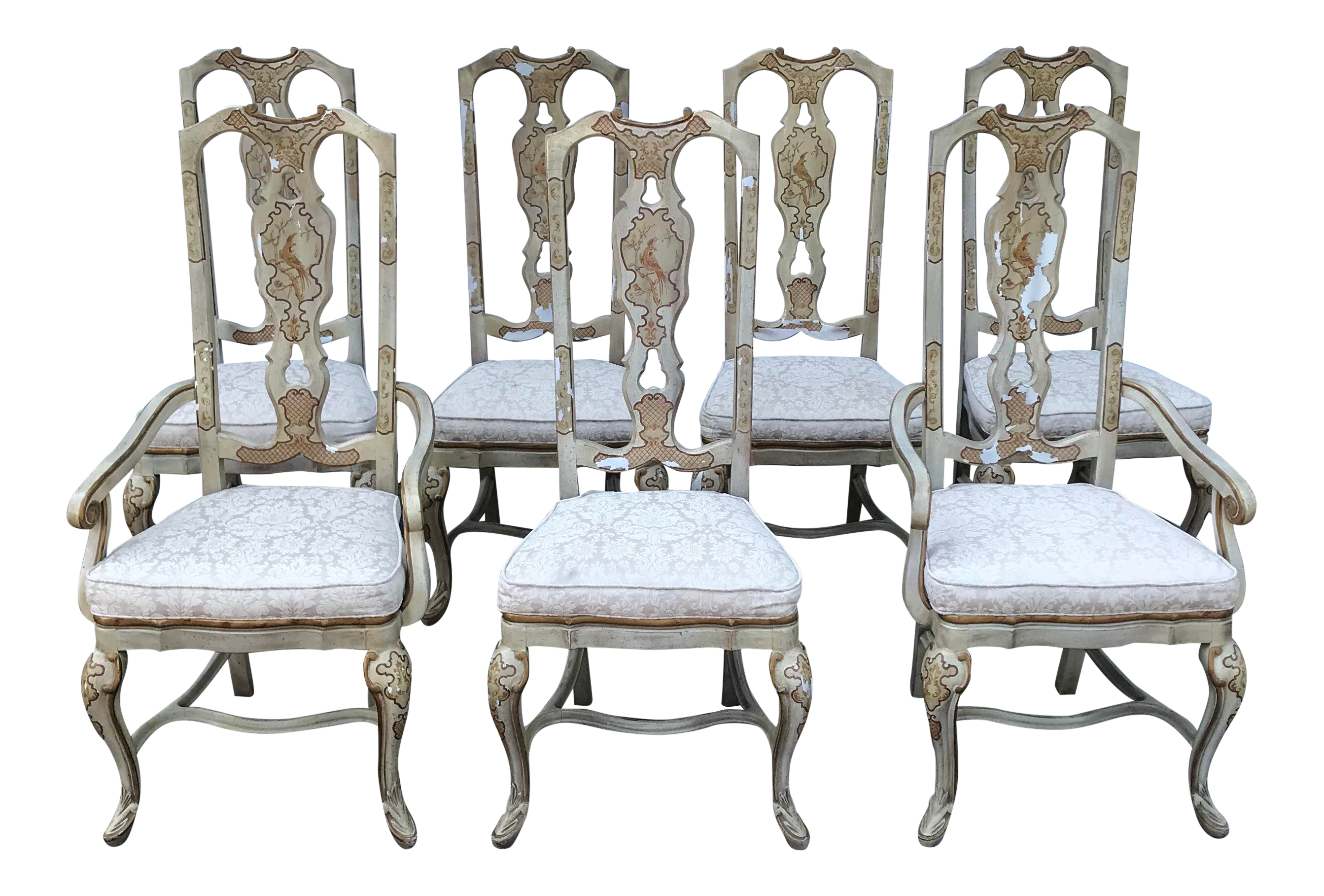 Drexel Heritage Sketchbook Collection Asian Chinoiserie Stenciled Dining Chairs Set Of 7 Chairish