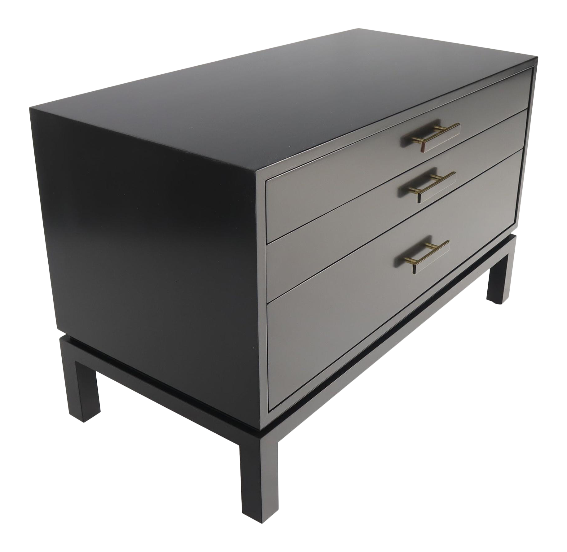 Black Lacquer Three Drawers Brass Pulls Bachelor Chest Nightstand Harvey Probber Chairish