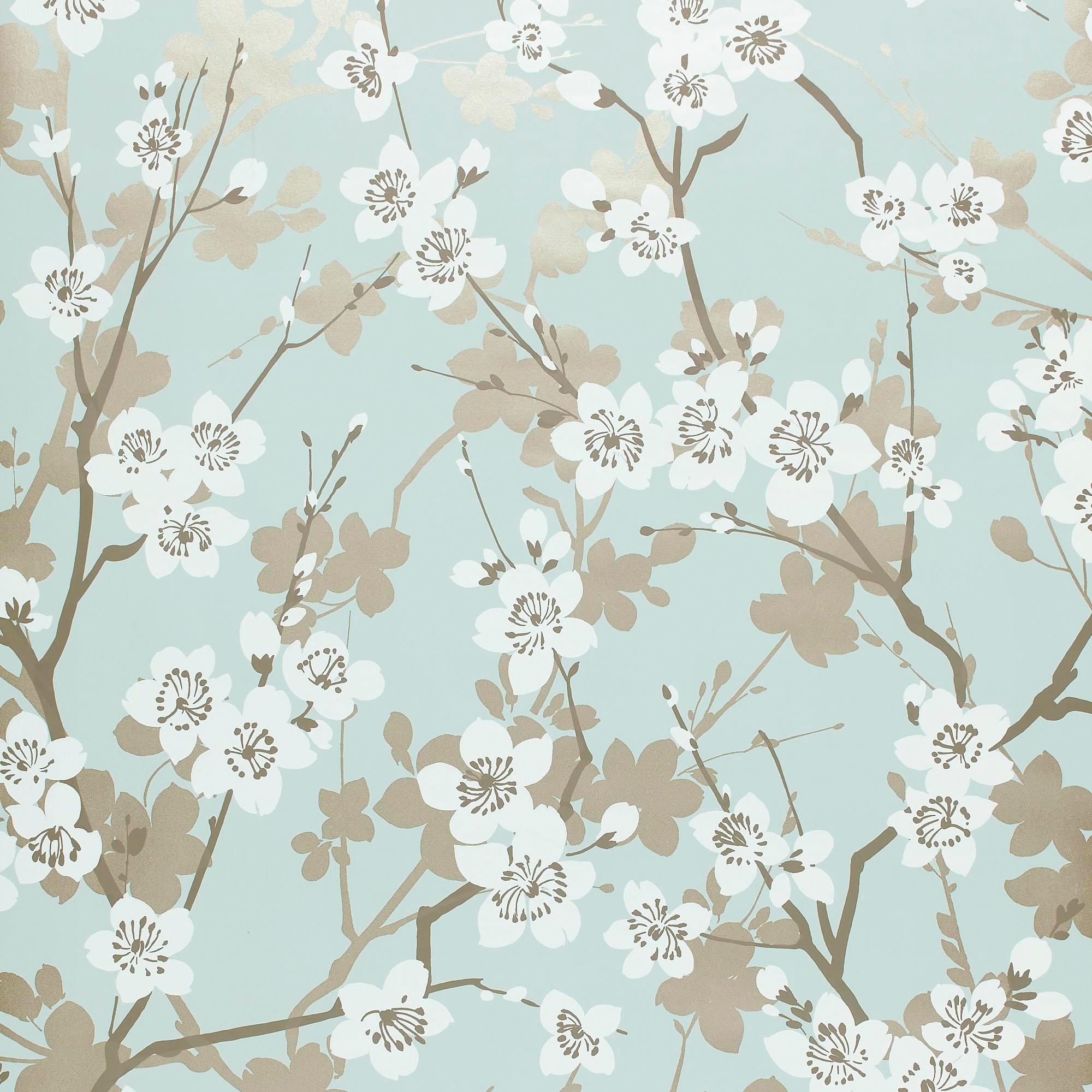 Schumacher Ming Cherry Blossom Wallpaper In Aqua Chairish
