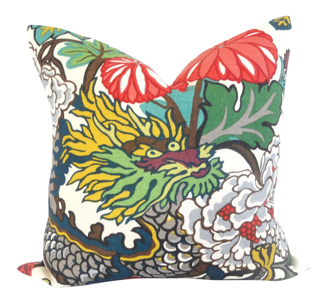 Schumacher Alabaster Chiang Mai Dragon Pillow Cover | Chairish